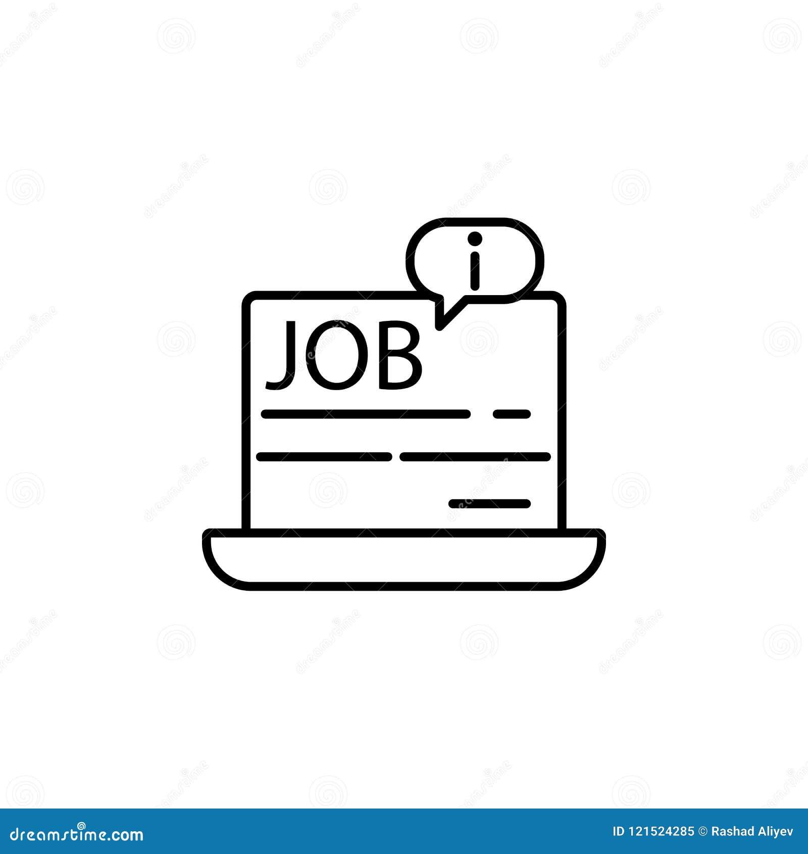 информация о работе в компьтер-книжке Элемент значка собеседования для приема на работу для передвижных apps концепции и сети Тон