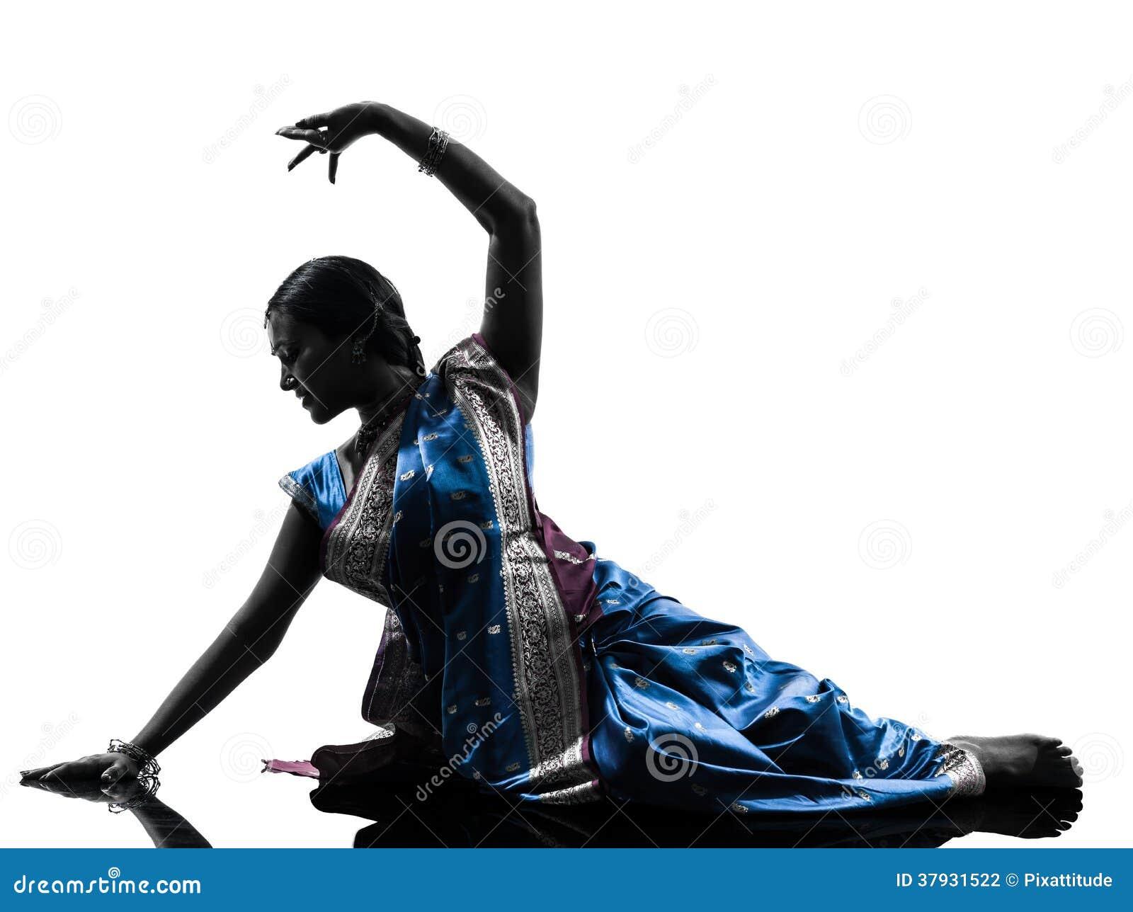Индийский силуэт танцев танцора женщины