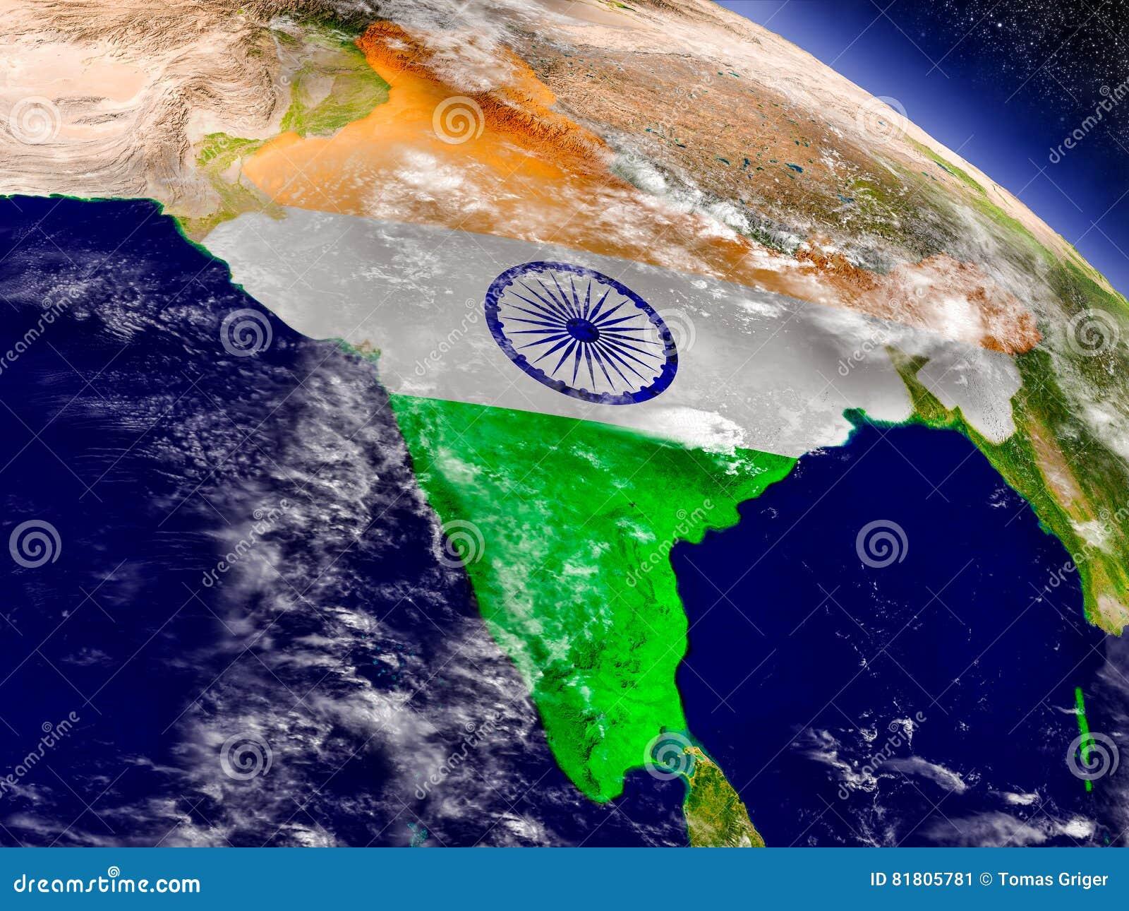 Индия с врезанным флагом на земле