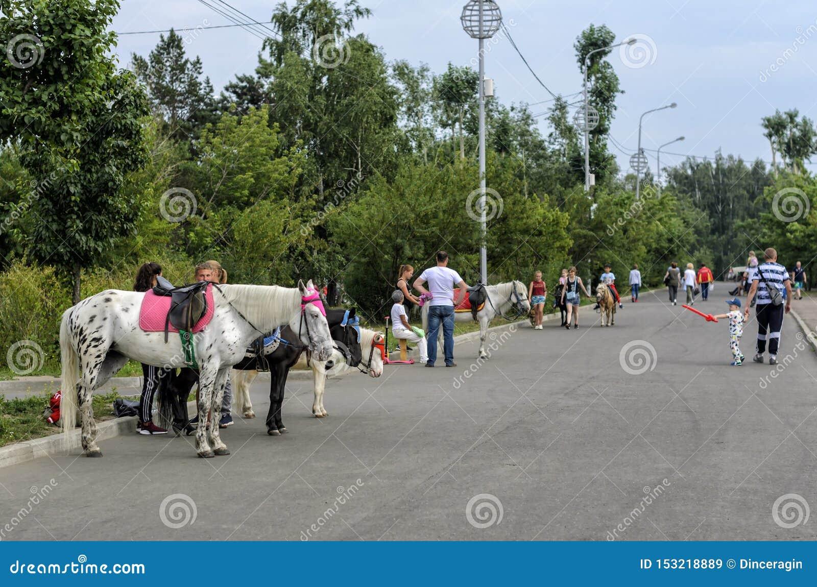 ИРКУТСК, РОССИЯ - 15-ОЕ ИЮЛЯ 2019: Люди идут на улицу около лошадей