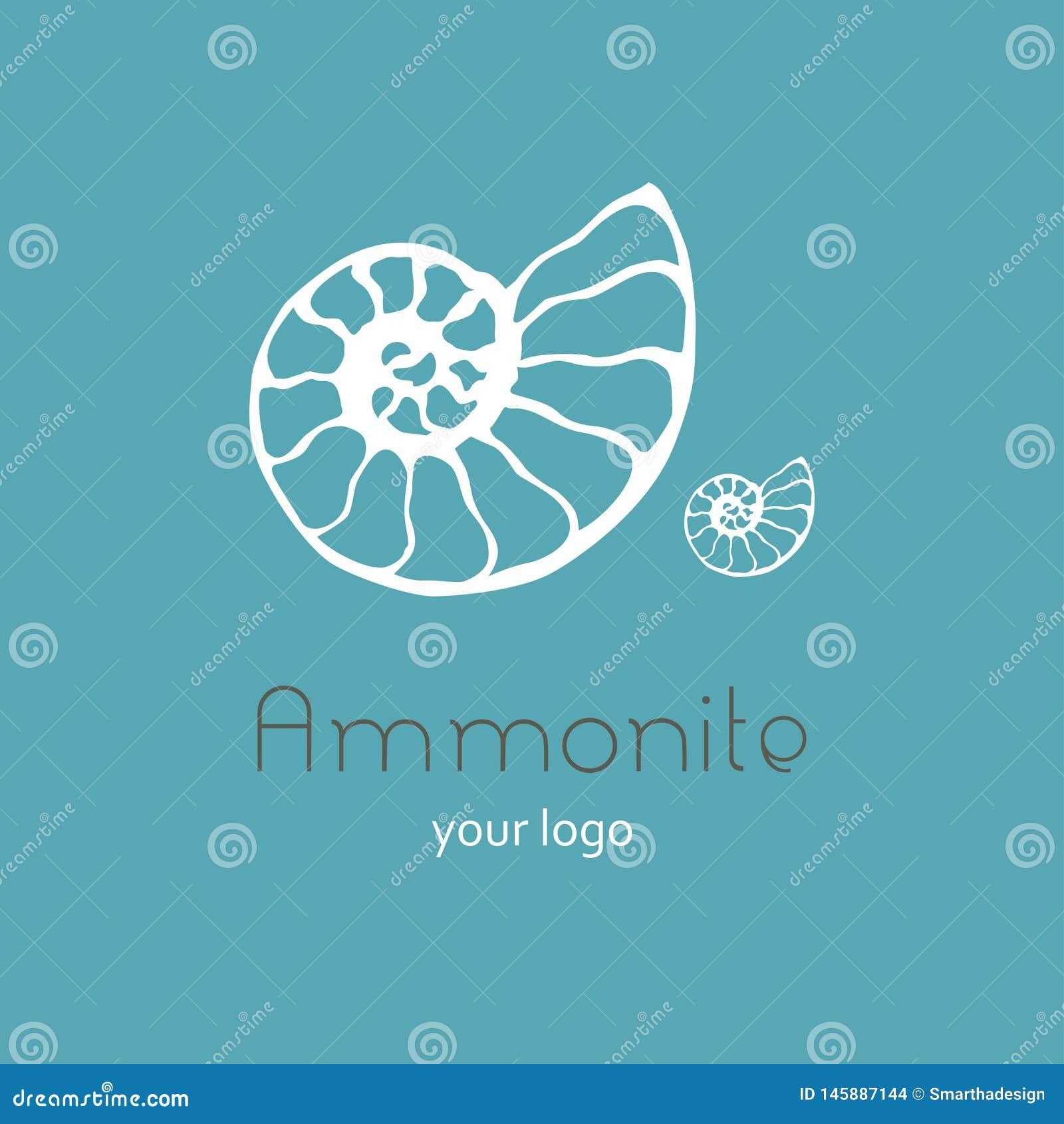 Ископаемый логотип вектора seashell nautilus аммонита Иллюстрация руки вычерченная для салона спа, кафа морепродуктов, ресторана,
