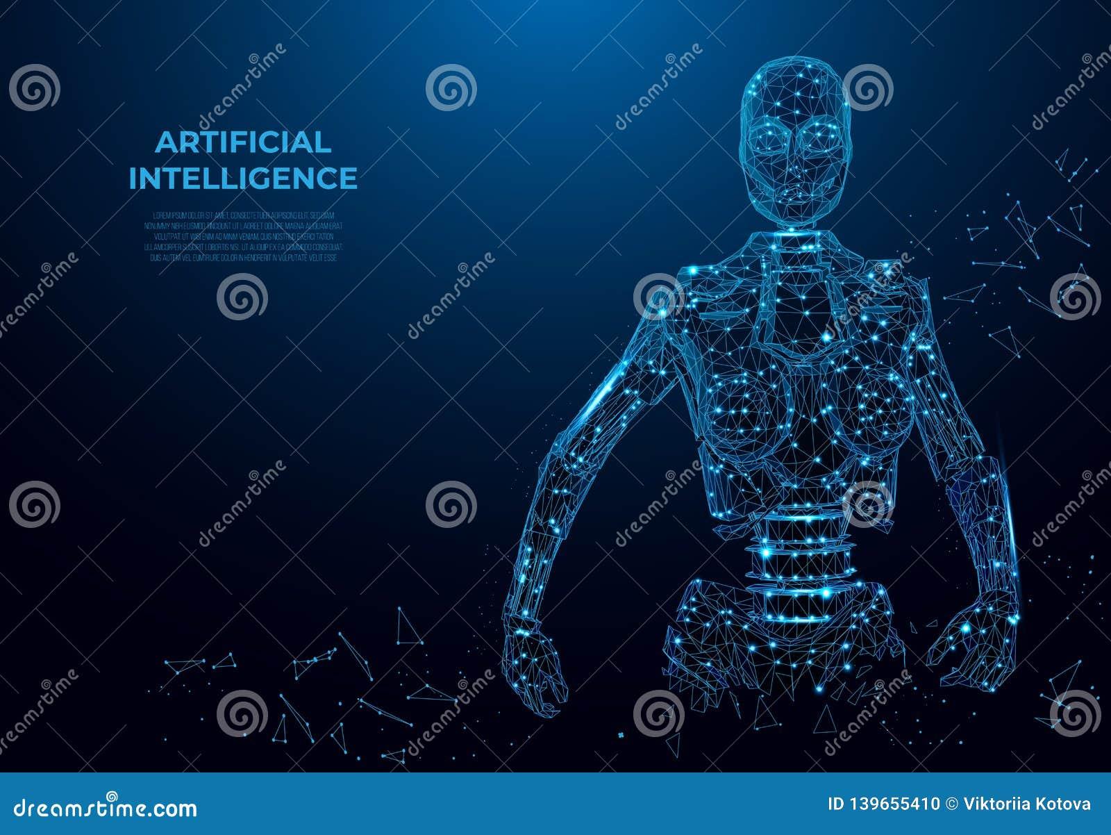 Искусственный интеллект в виртуальной реальности, роботе Концепция wireframe вектора Изображение вектора полигональное, искусство