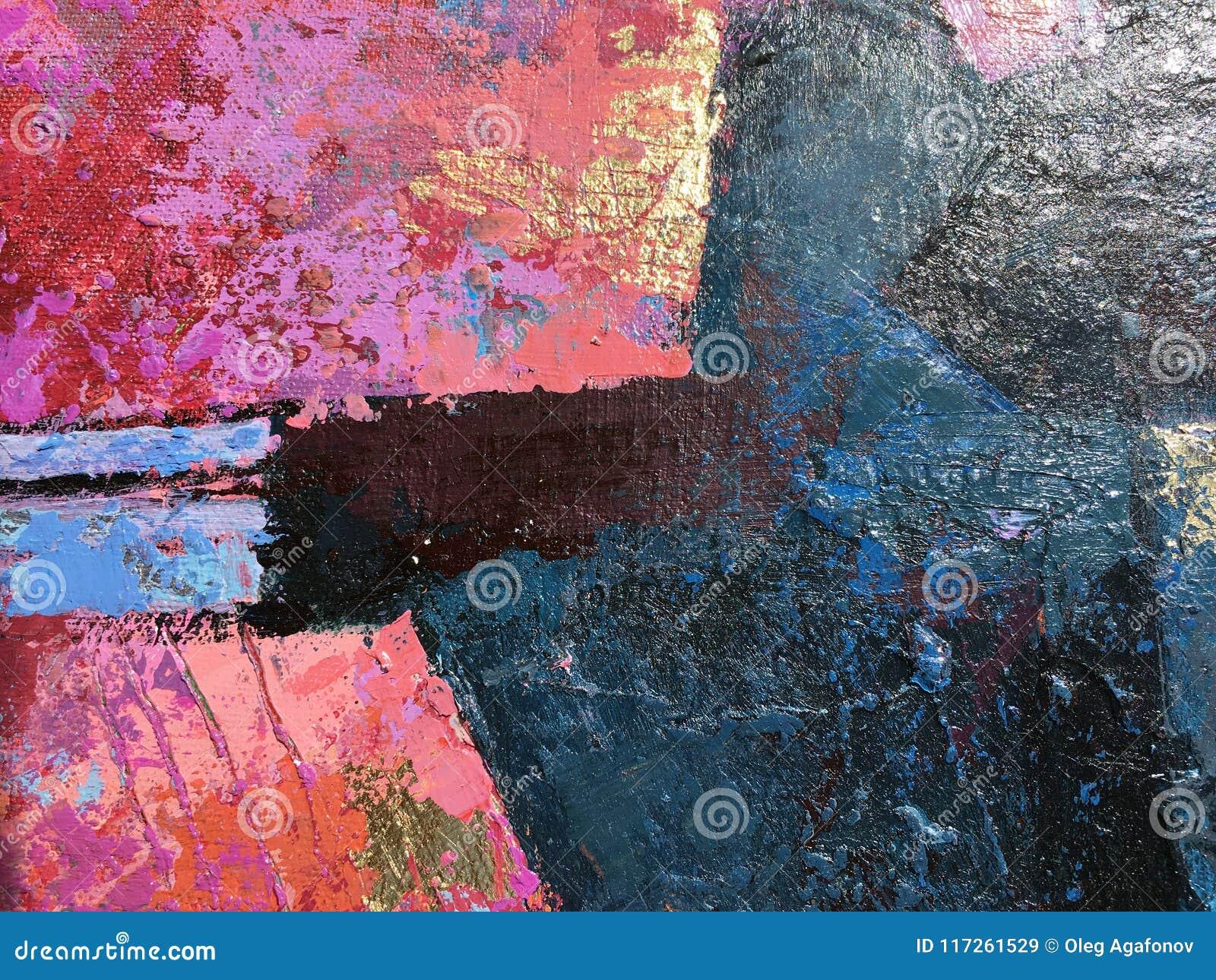 Искусство картины захода солнца абстрактное с естественными акриловыми текстурами на холсте