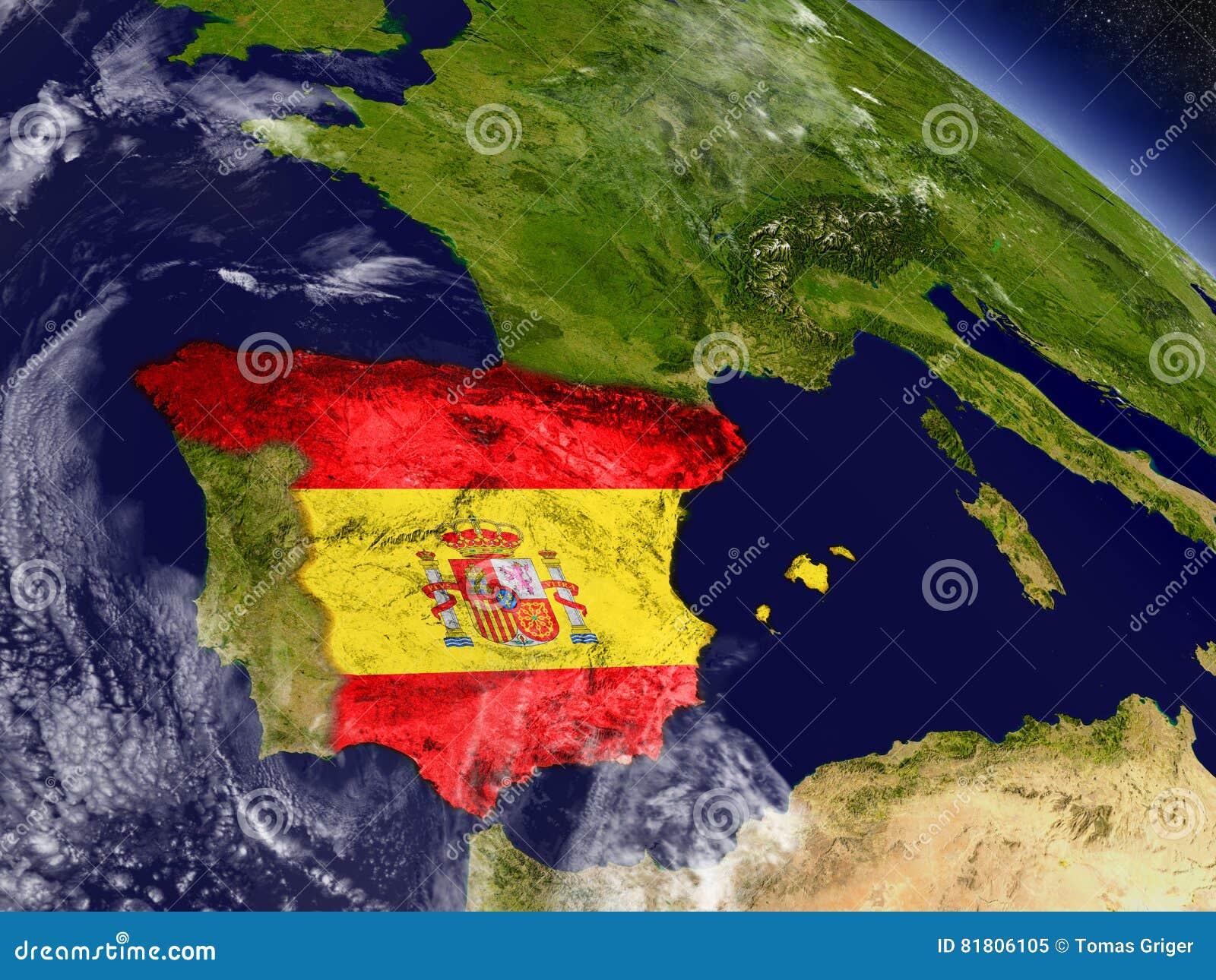Испания с врезанным флагом на земле