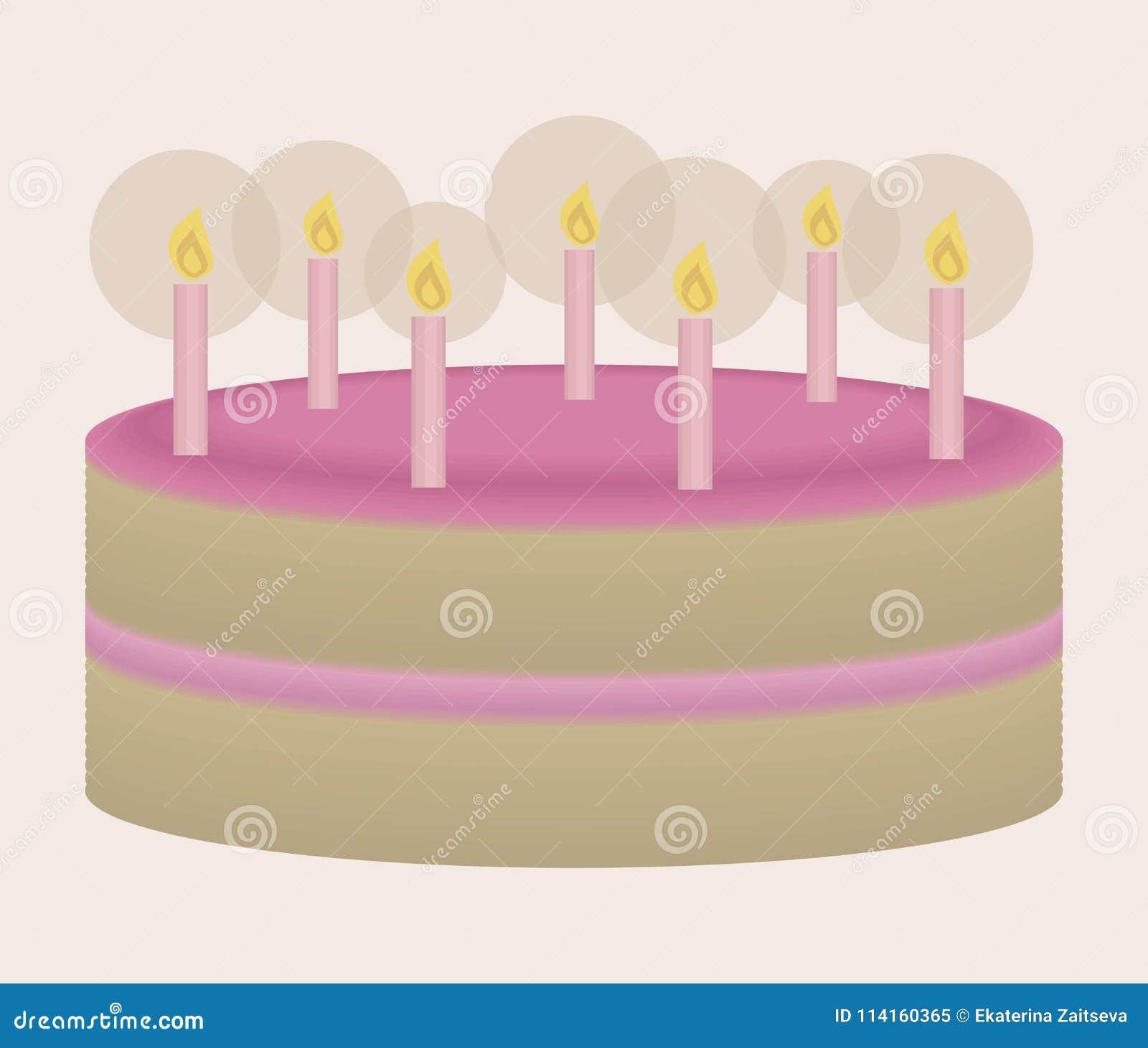 Испеките вектор праздничный с свечами cream красивого розового дня рождения горящими на свете - розовой иллюстрации предпосылки