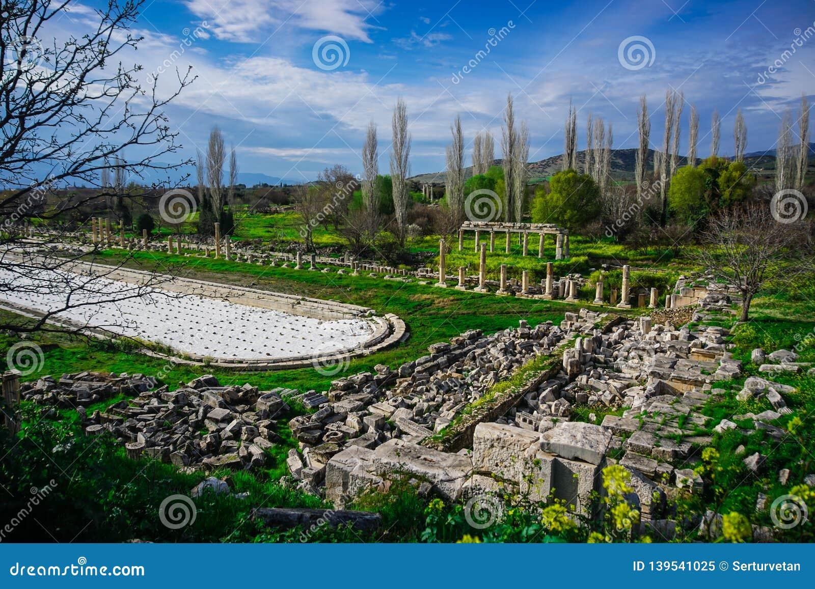 Исполинский римский бассейн от древнего города Afrodisias Aphrodisias в Caria, Karacasu, Aydin, Турции