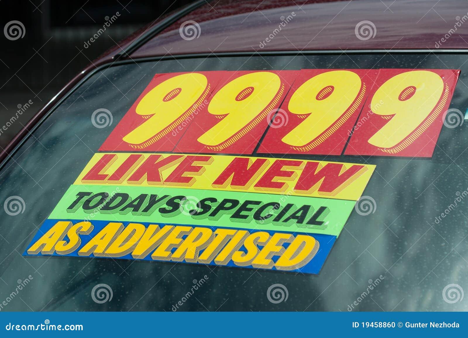используемый стикер цены серии автомобиля
