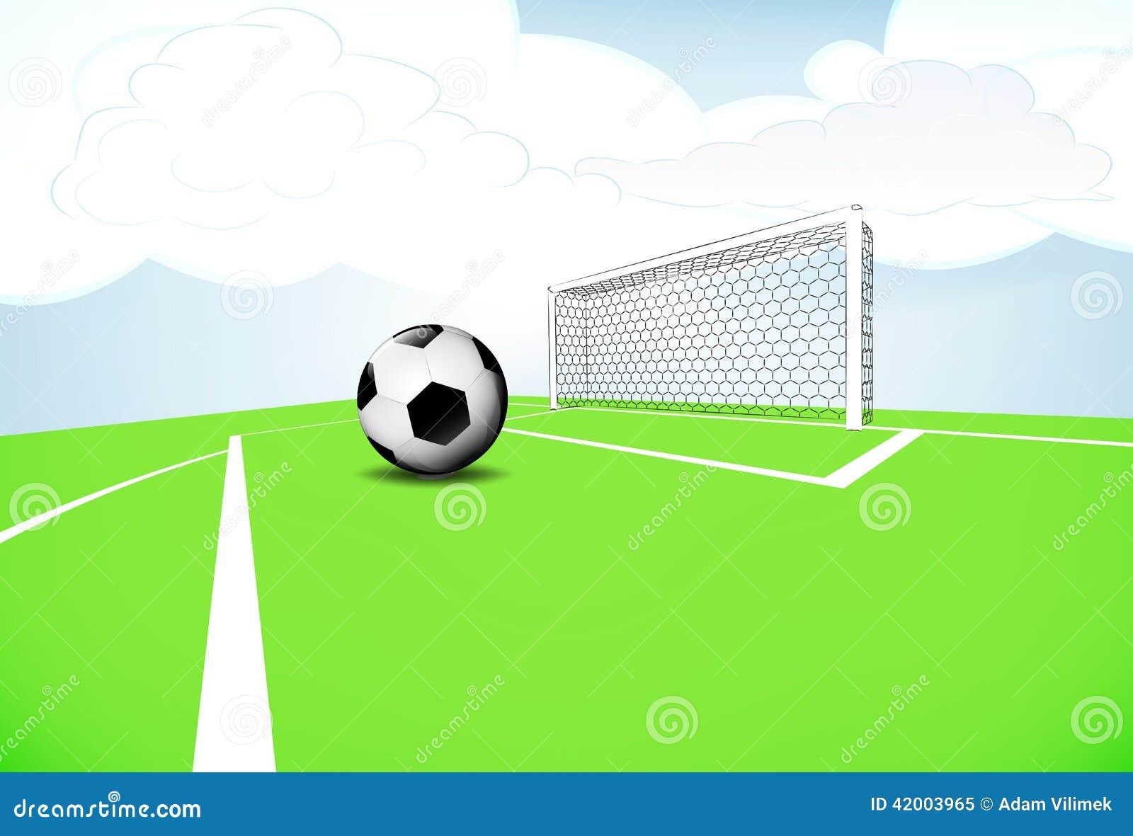 Исполнение штрафа сцены спортивной площадки футбола с облачным небом