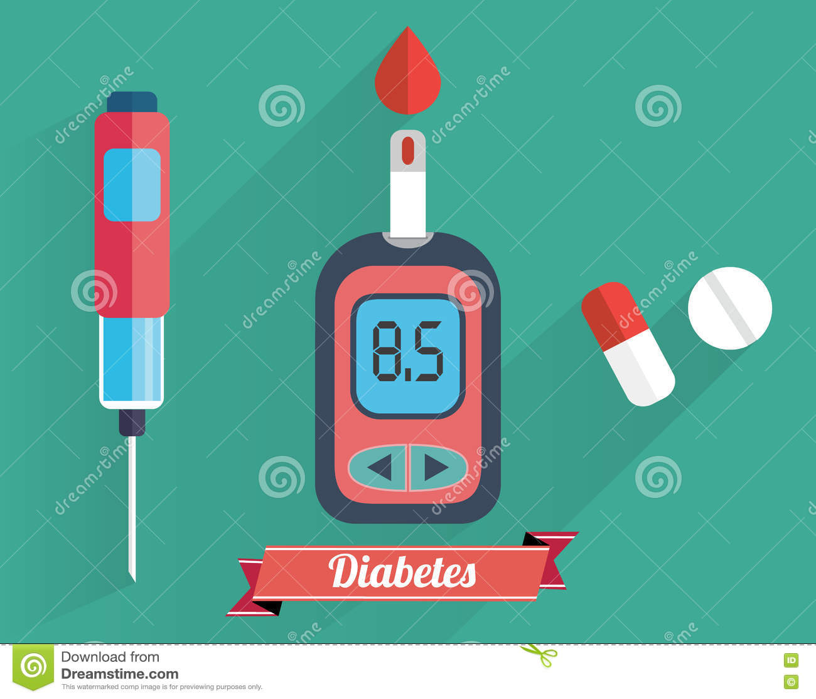 Испытание содержания глюкозы в крови диабета - рука прикладывая падение крови к прокладке испытания метра глюкозы - плоский компл