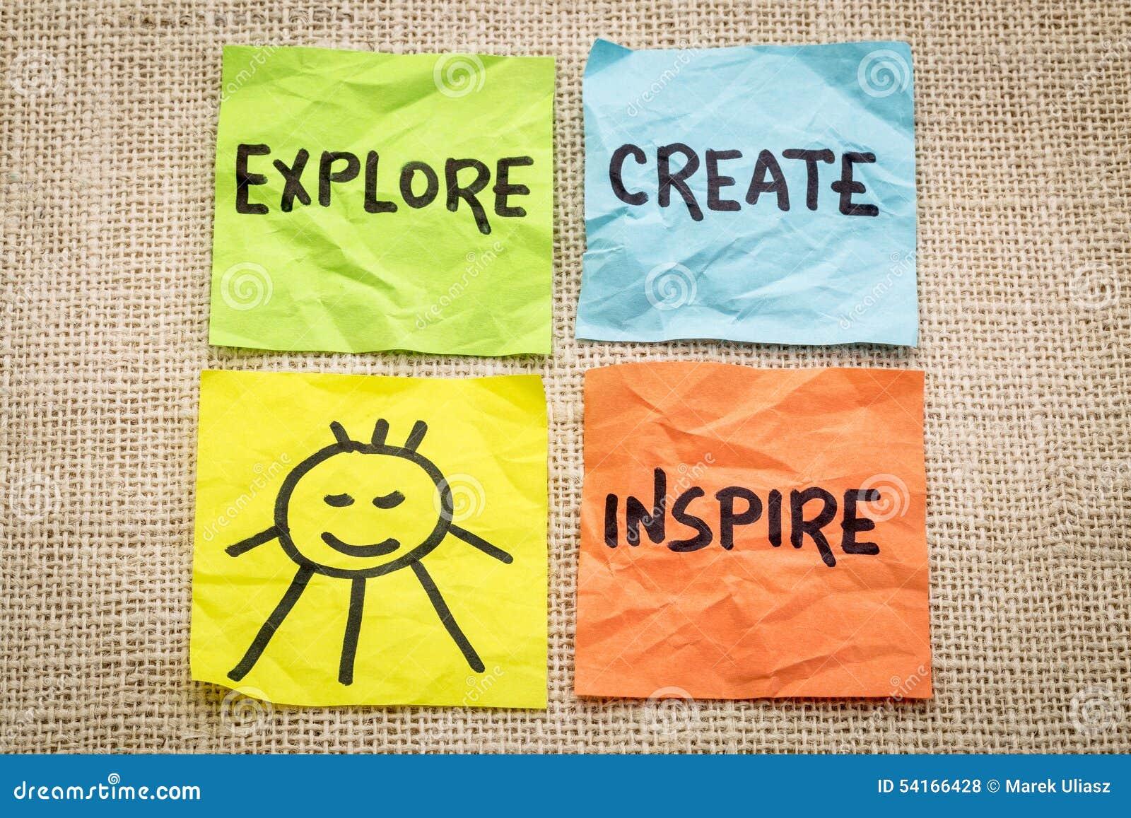 Исследуйте, создайтесь, воодушевите и усмехнитесь напоминание