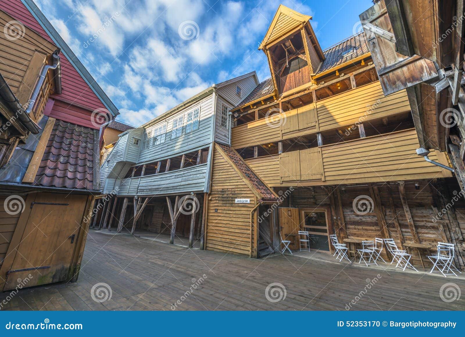 Исторические здания Bryggen в городе Бергена, Норвегии