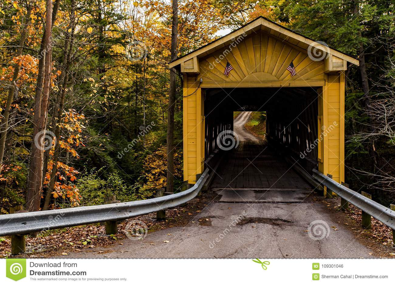 Историческое Виндзор филирует крытый мост в осени - Ashtabula County, Огайо