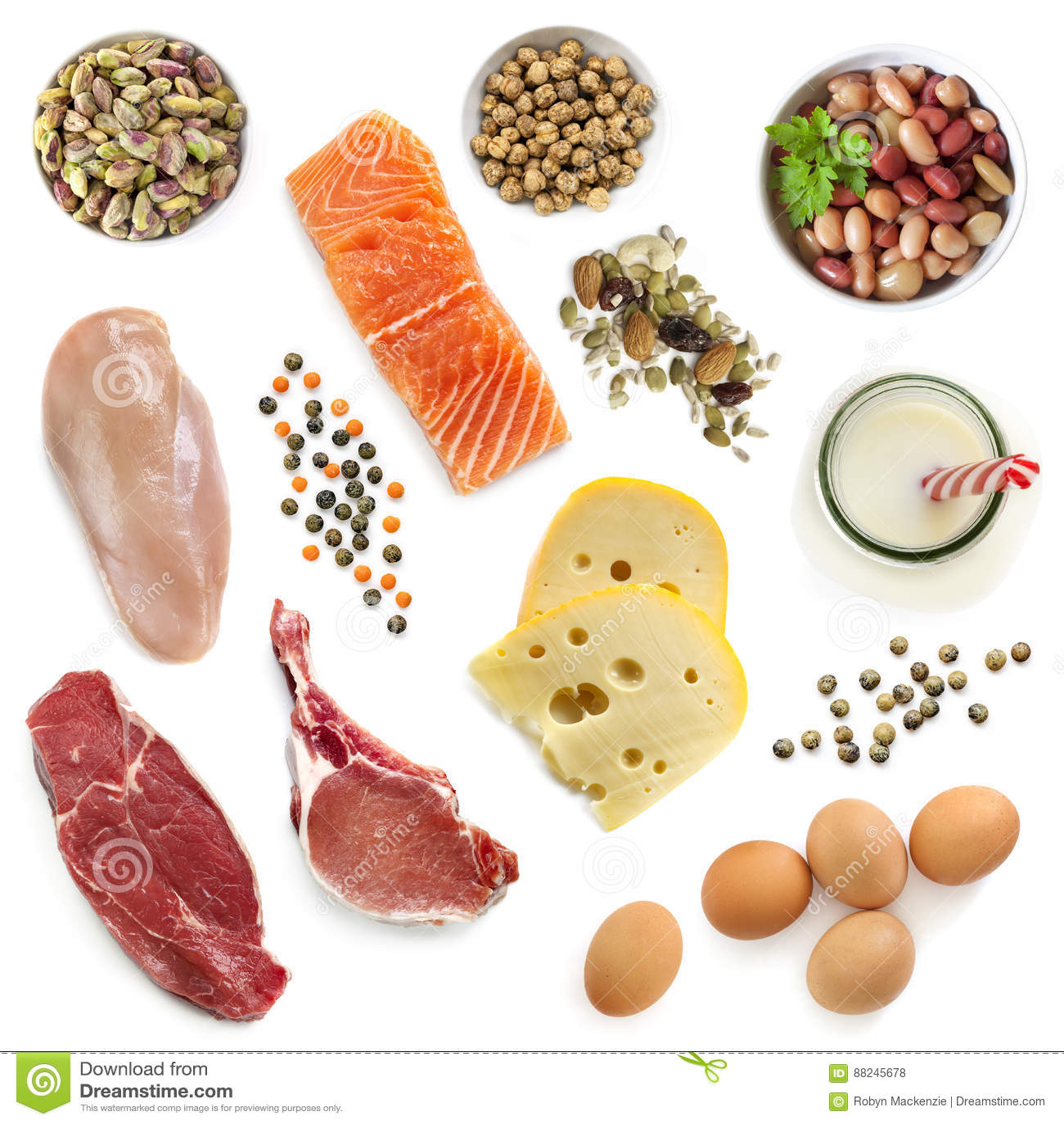 Источники протеина еды изолировали взгляд сверху