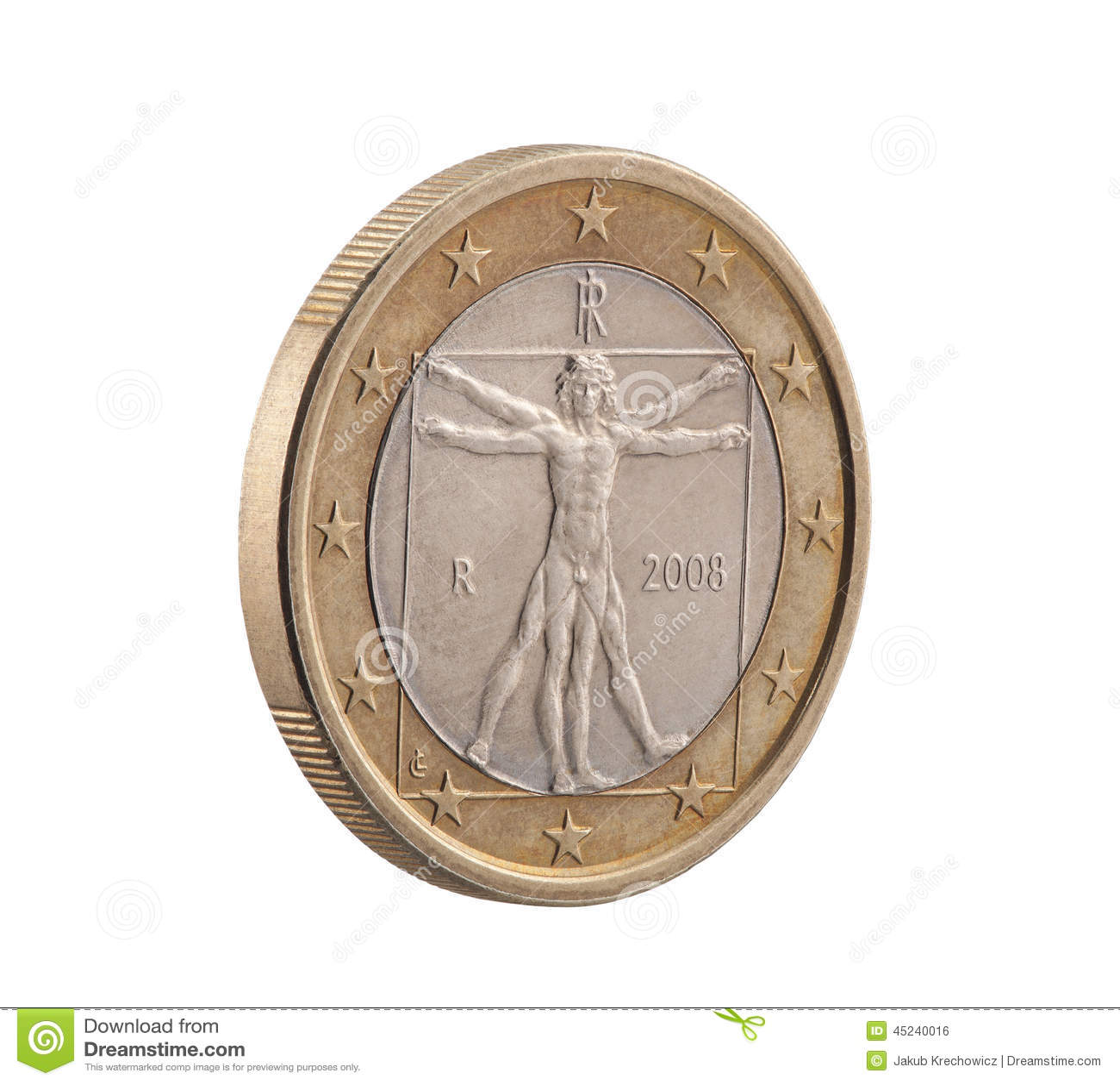 Итальянка одно евро с человеком Vitruvian