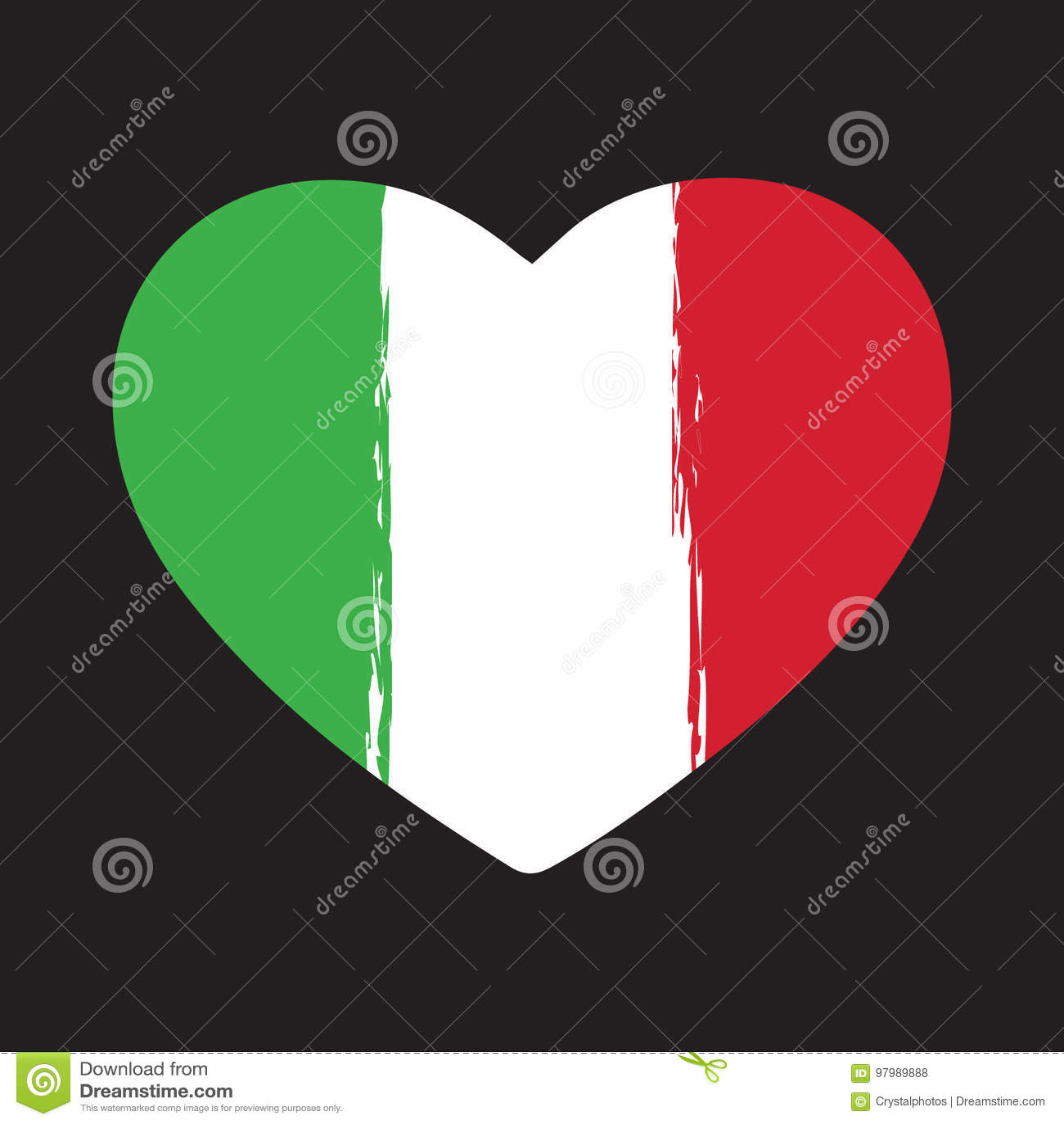 Итальянское сердце Brushstroke флага