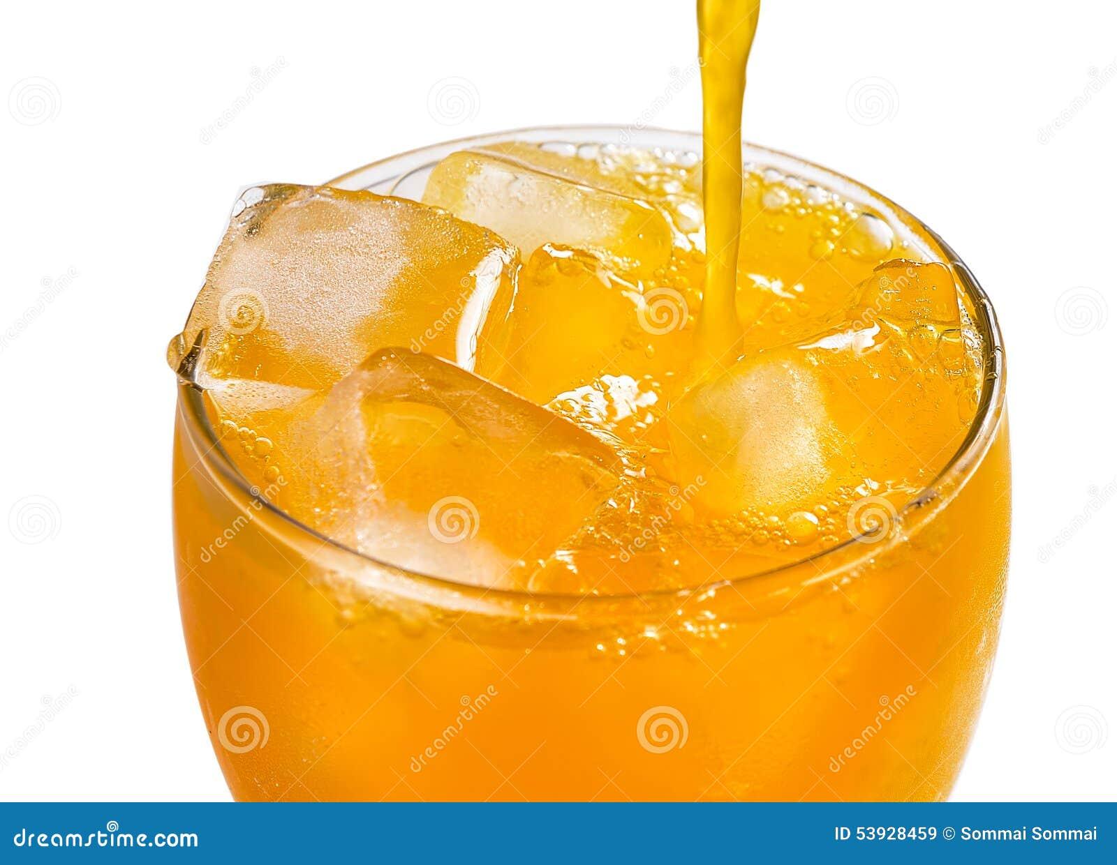 лить стеклянного сока померанцовый