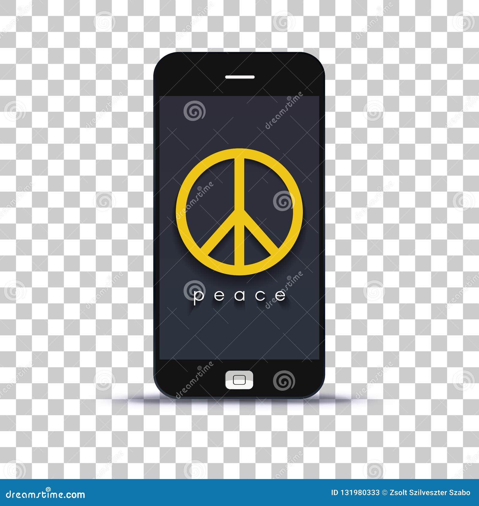 Ищущ применение мира для мобильного телефона наклеенного на бумаге фото