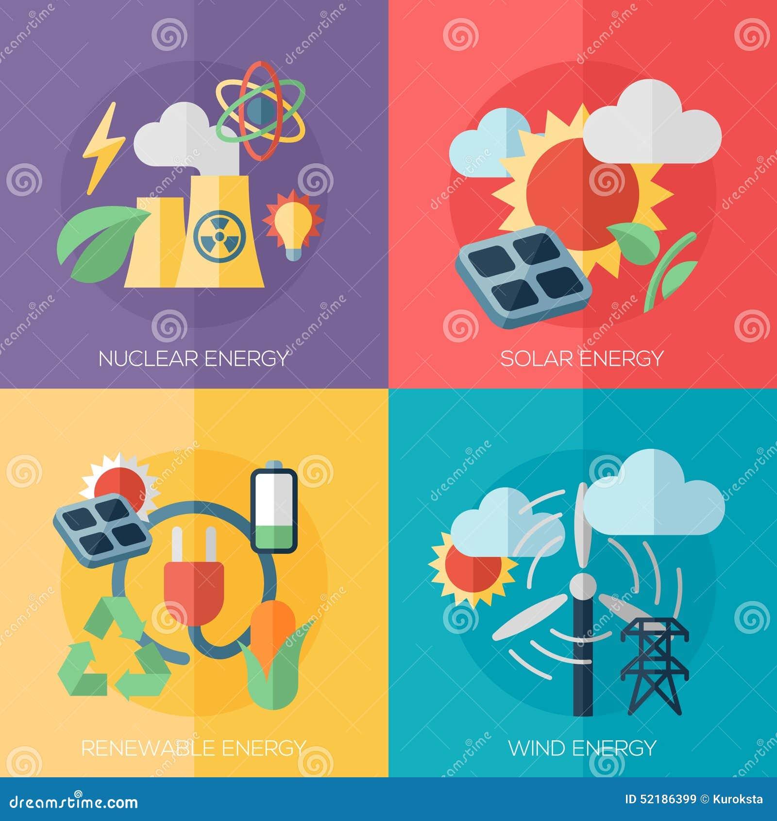 идеи проекта дружественной к Эко энергии плоские, знамена