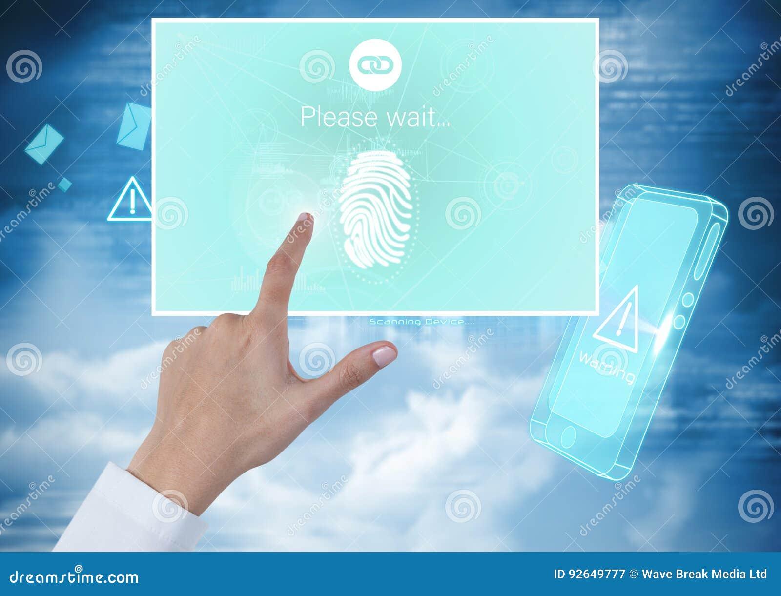 Идентичность руки касающая проверяет интерфейс App отпечатка пальцев передвижной