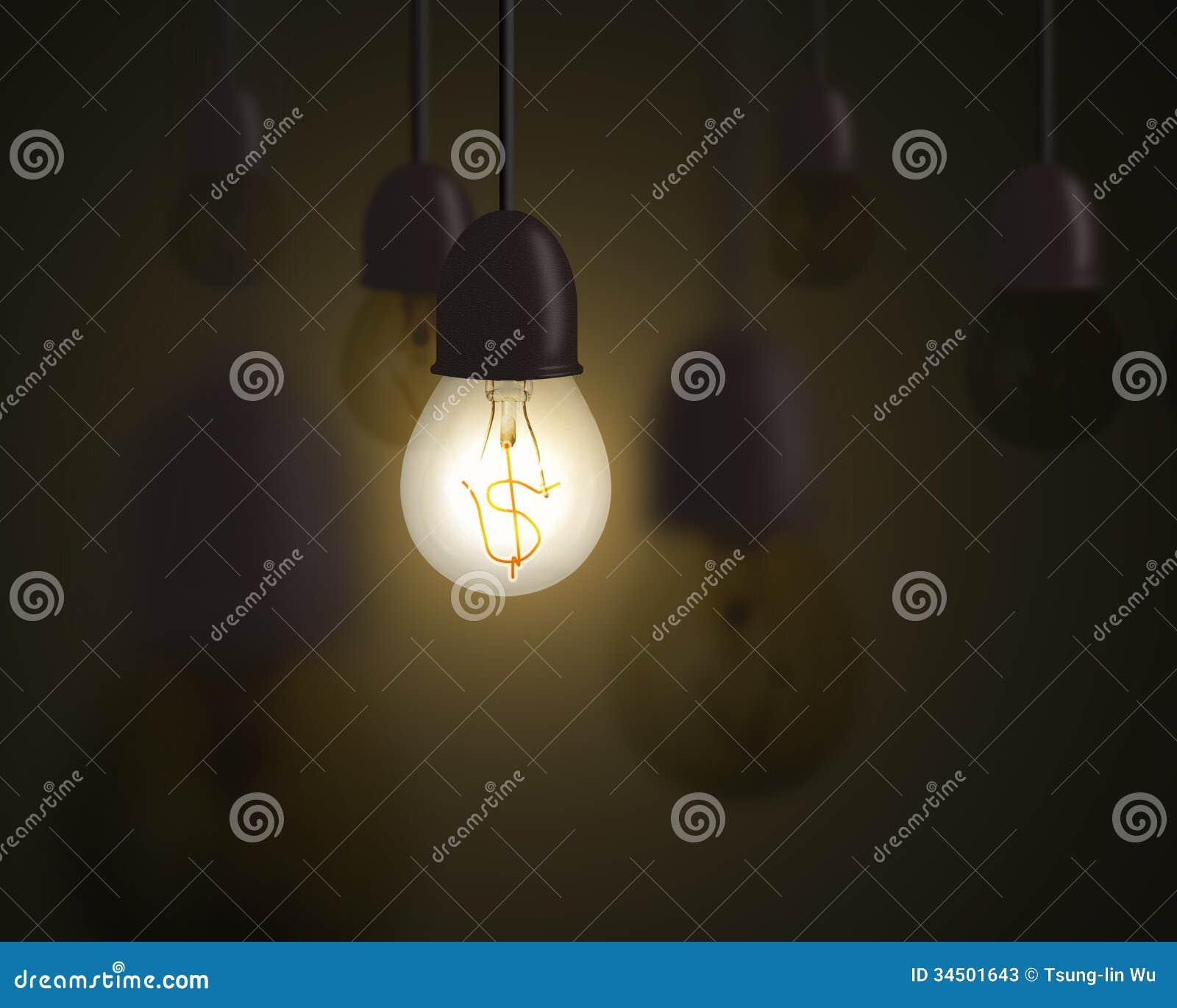 Идея концепция денег, шарик освещения с символом денег внутри