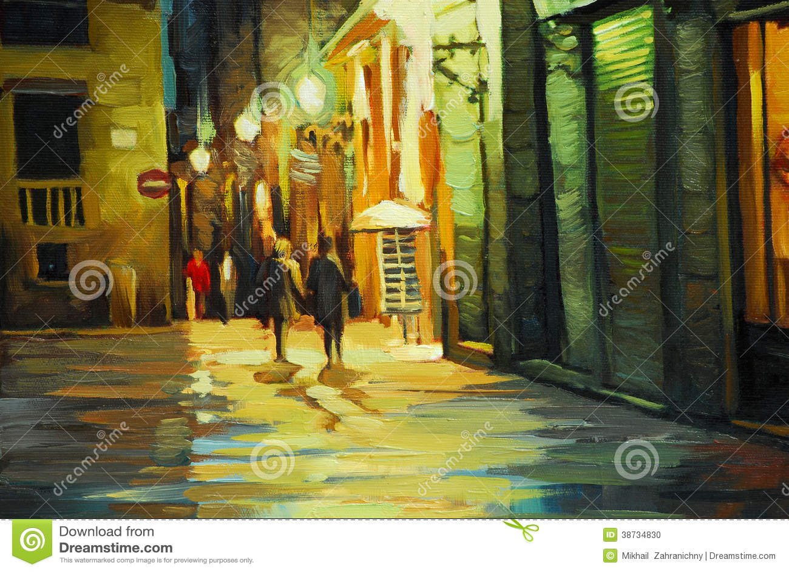 Идите дождь в готическом квартале Барселоны, крася