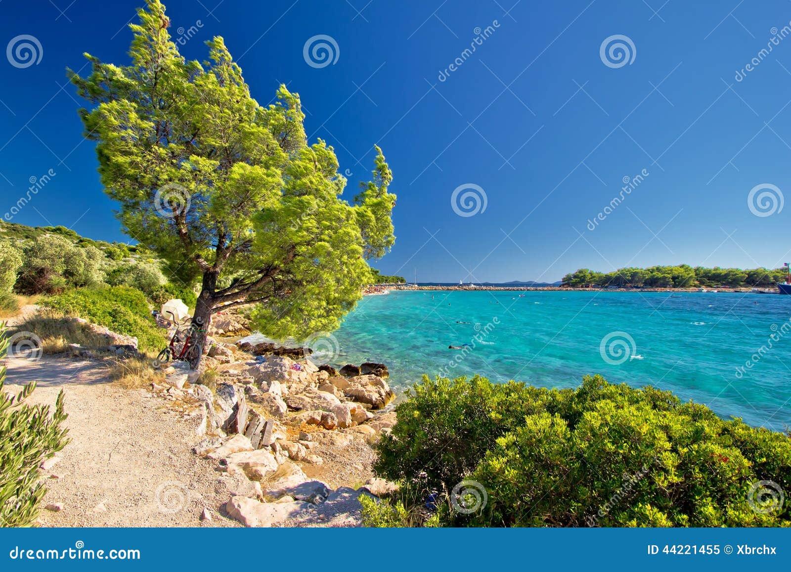 Идилличный пляж бирюзы в Хорватии