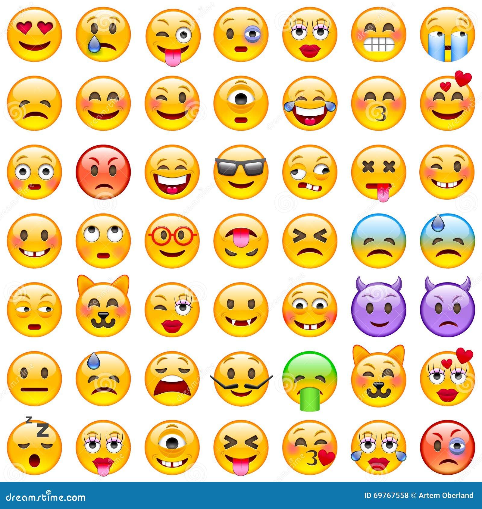 иллюстрации emoticons цветов вектор легкой editable установленный Комплект Emoji Значки улыбки