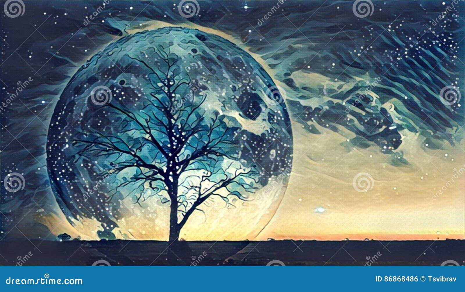 Иллюстрация ландшафта фантазии - сиротливое чуть-чуть острословие силуэта дерева