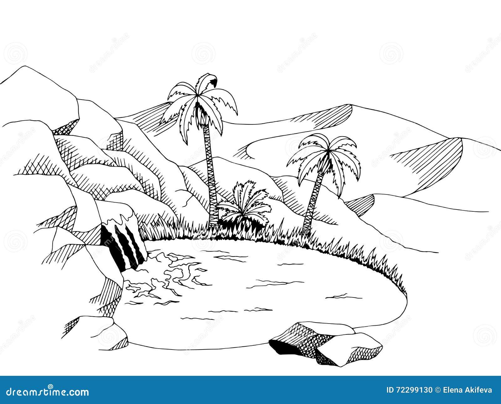 Download Иллюстрация ландшафта черноты графического искусства пустыни оазиса белая Иллюстрация вектора - иллюстрации насчитывающей природа, оазис: 72299130
