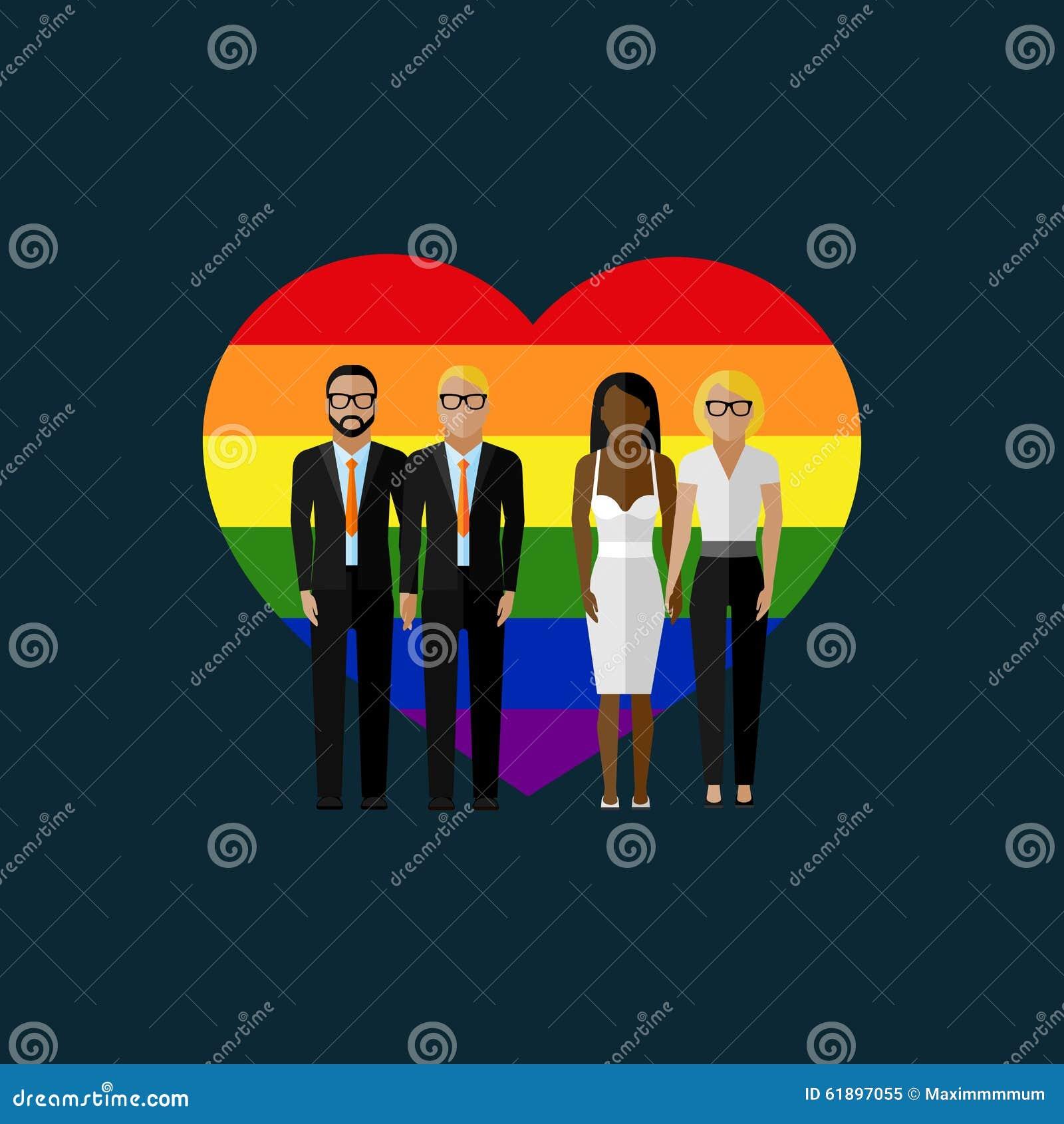 Иллюстрация вектора брака гомосексуалистов плоская
