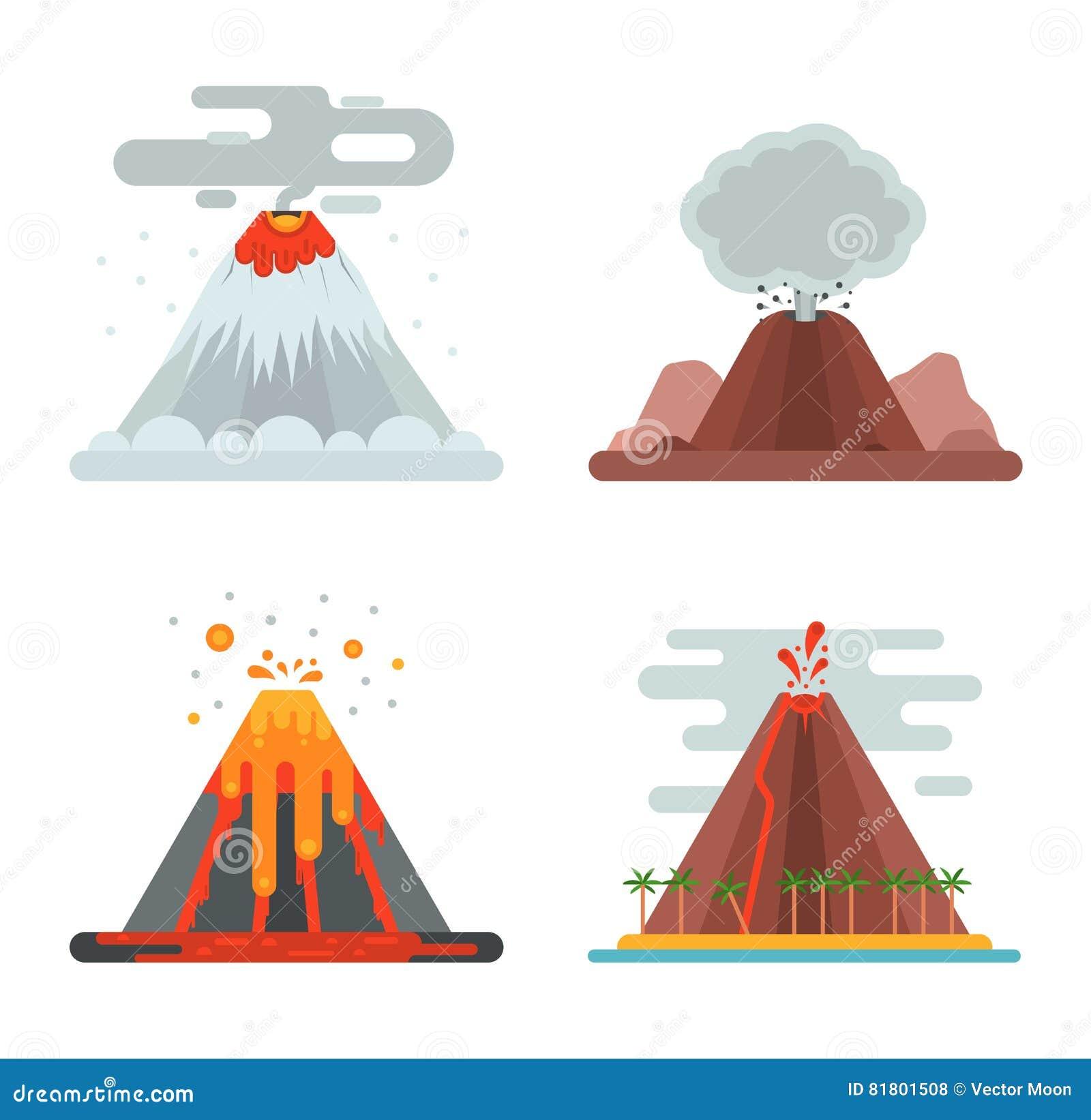 Иллюстрация вектора вулкана установленная