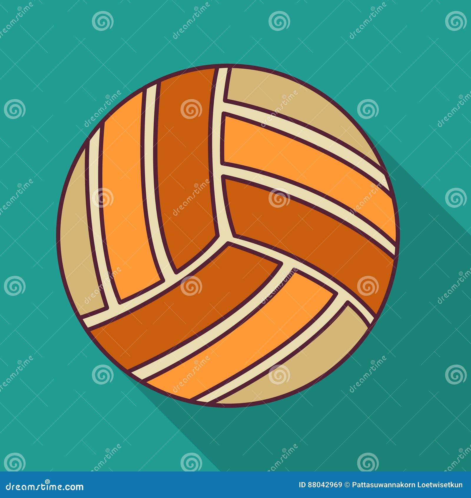 Иллюстрация вектора значка цвета шарика волейбола плоская