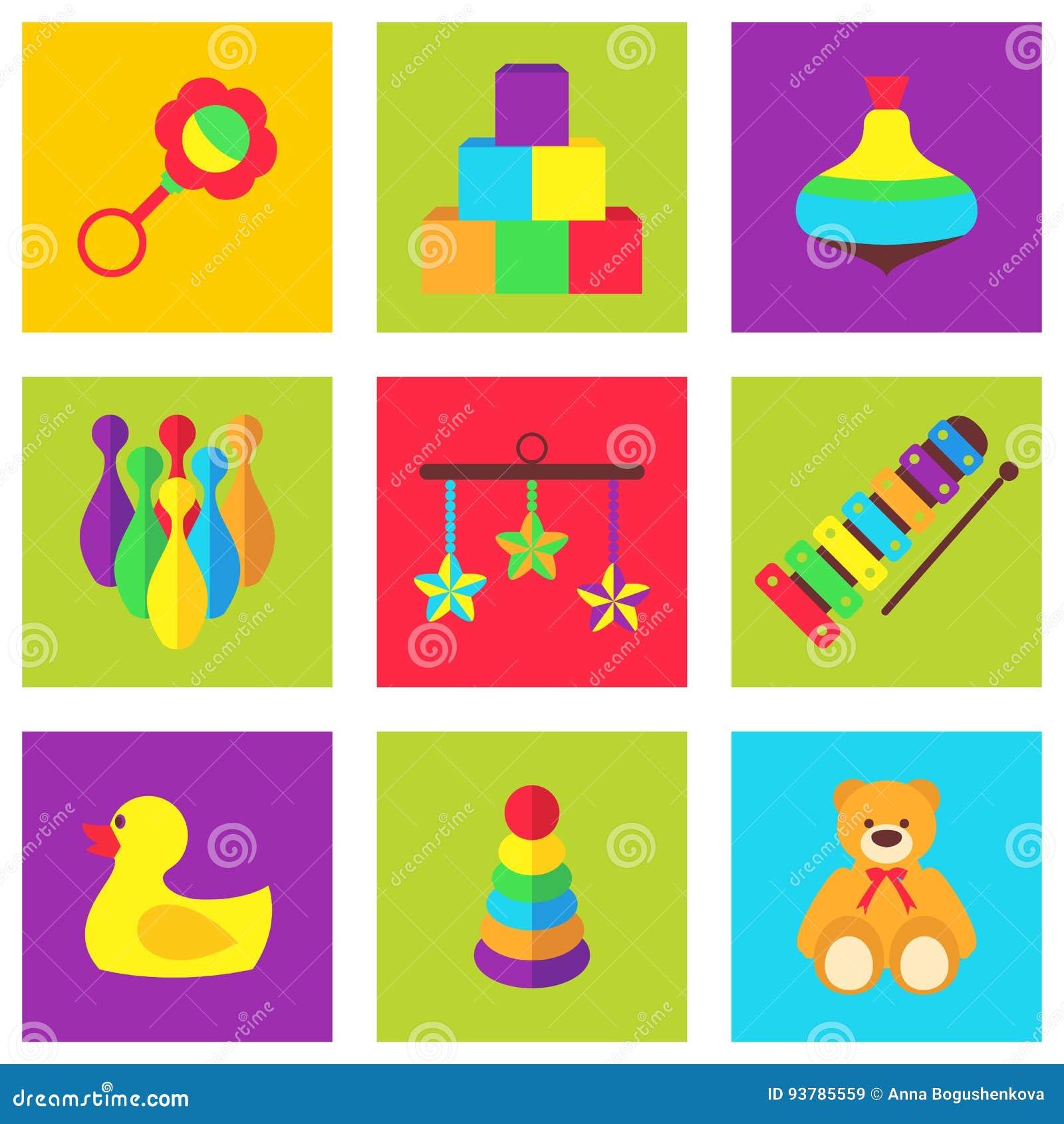 Иллюстрация вектора игрушек цвета для детей