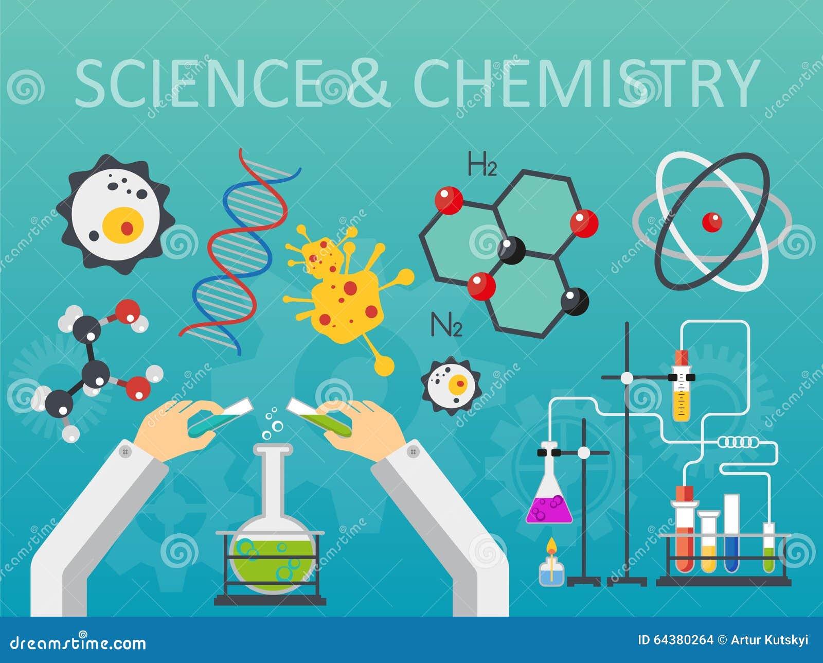 Иллюстрация вектора дизайна стиля науки и техники химической лаборатории плоская Концепция рабочего места рук ученых