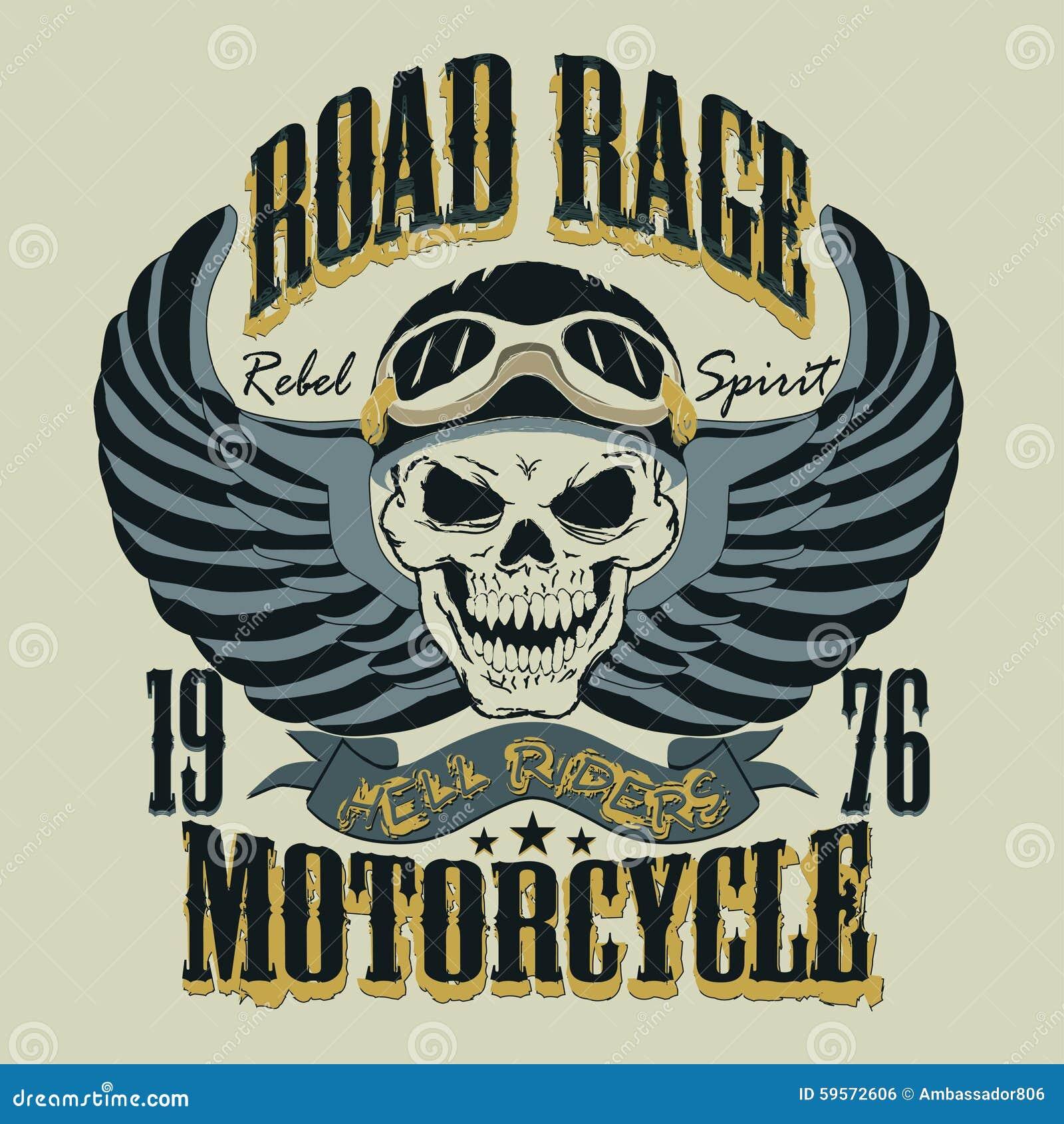 Иллюстрация вектора дизайна футболки мотоцикла