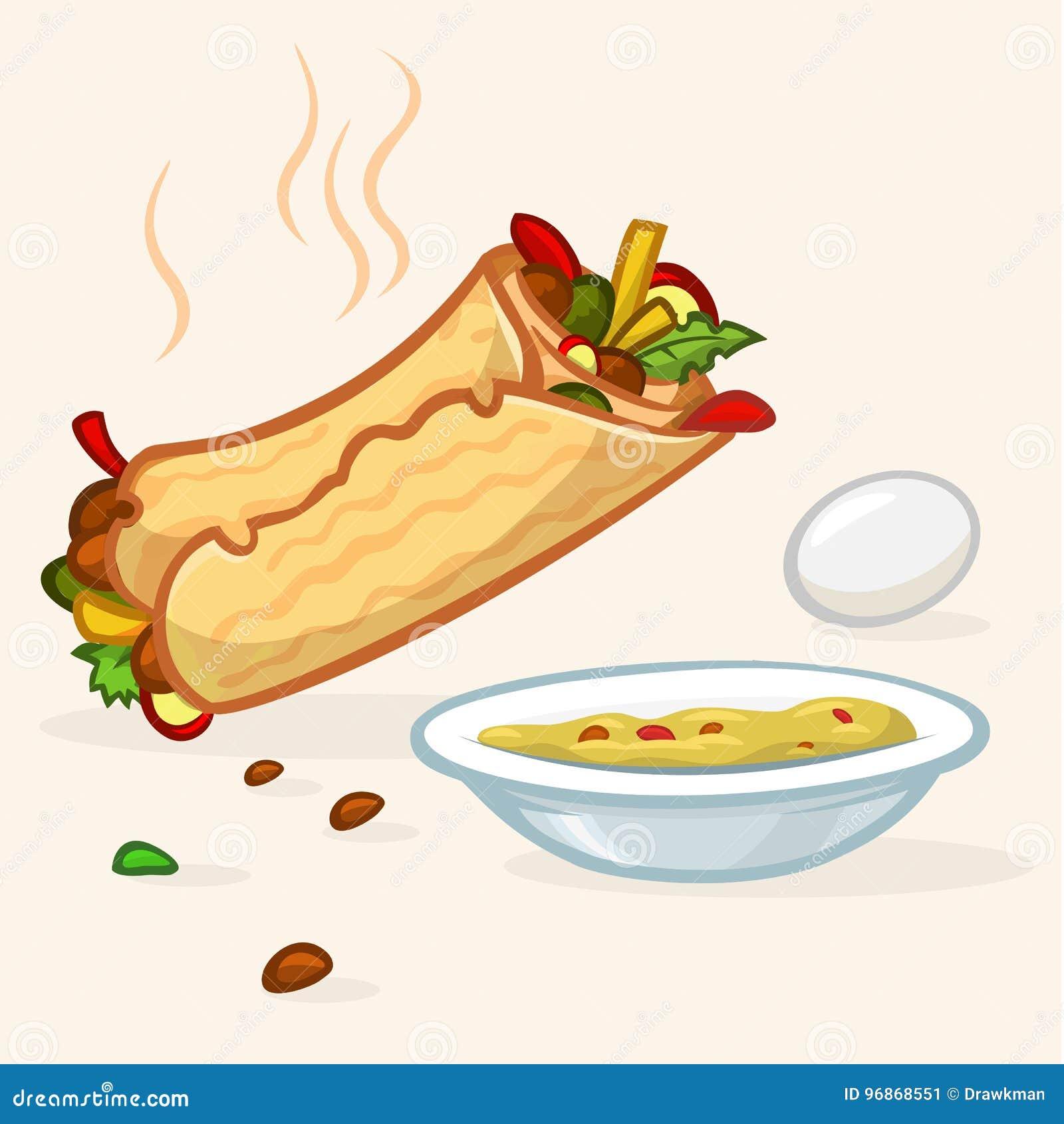 Иллюстрация вектора крена falafel улицы Израиля, плиты с hummus и яичка Значки еды улицы