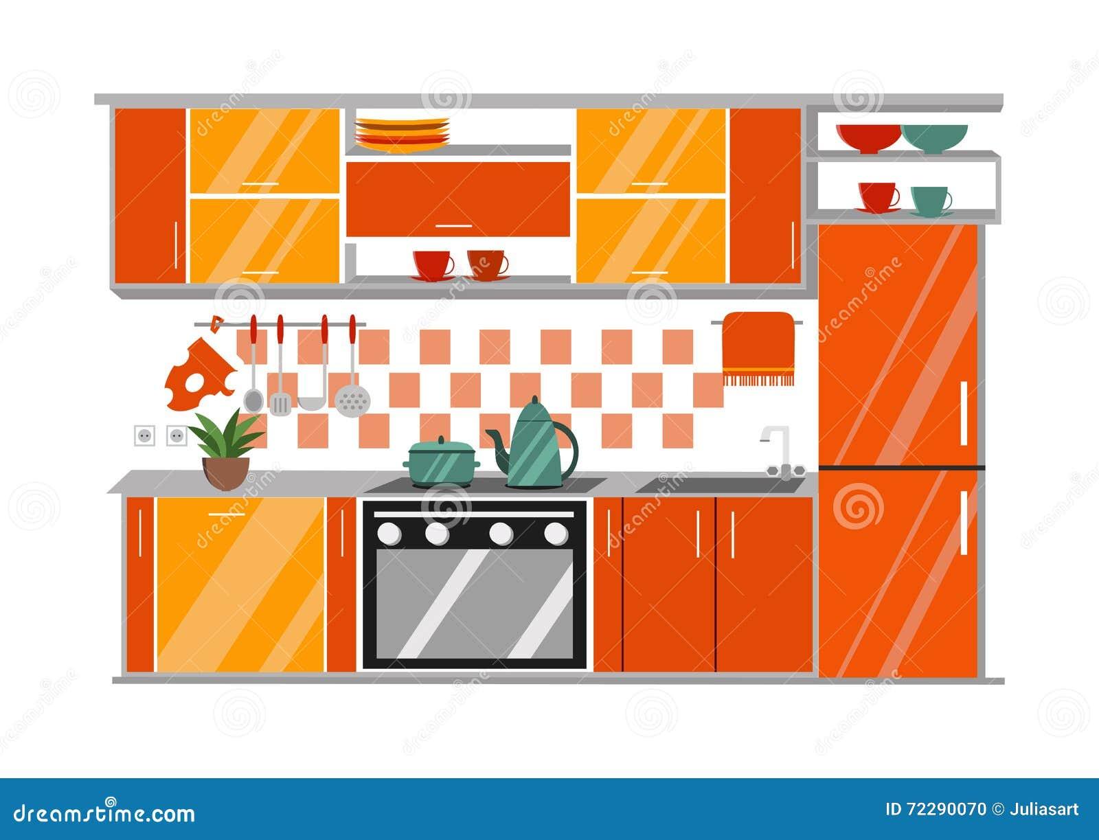 Download Иллюстрация вектора кухни внутренняя Стиль шаржа плоский Иллюстрация вектора - иллюстрации насчитывающей concept, мебель: 72290070