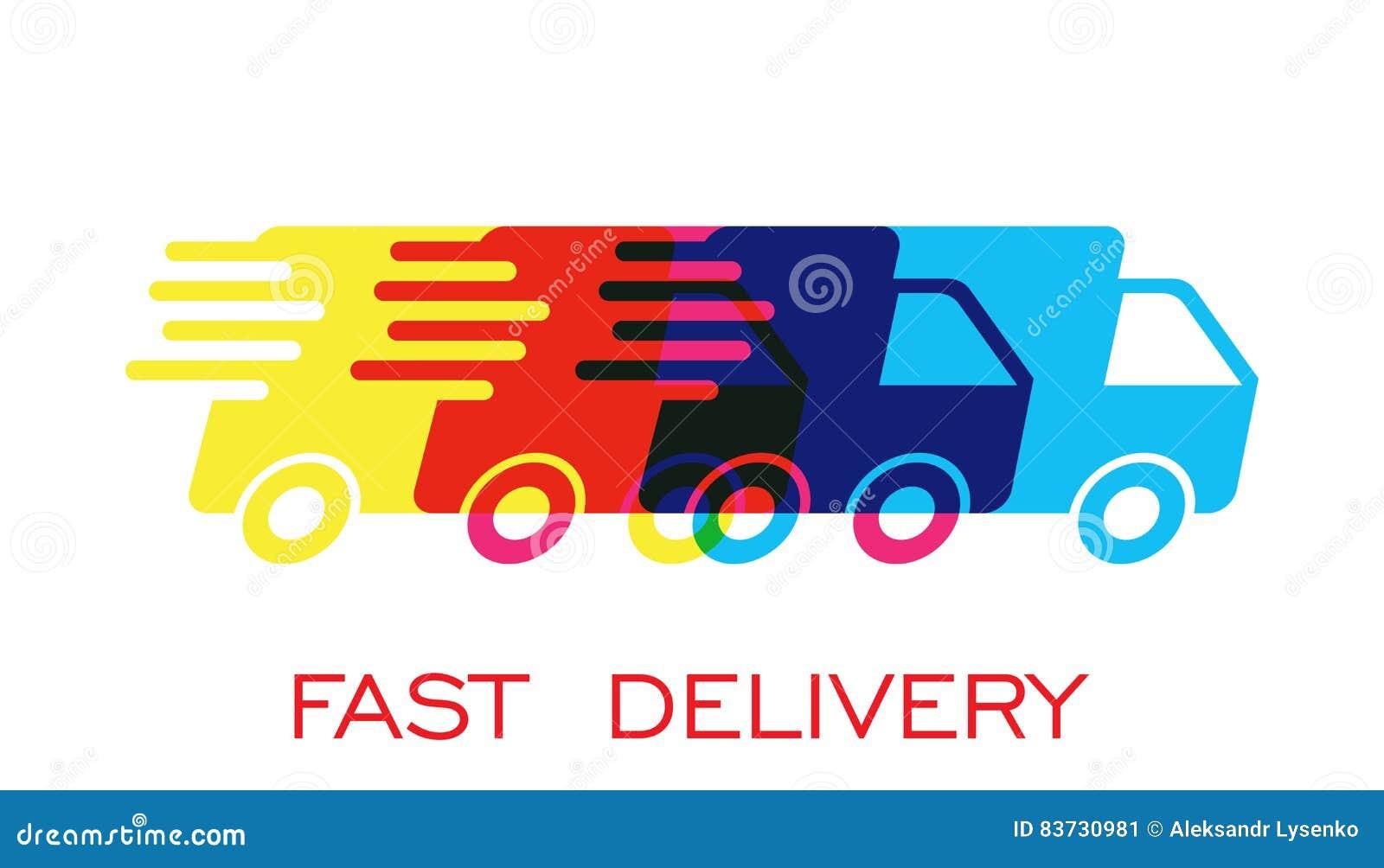 Иллюстрация вектора логотипа тележки поставки Быстрый значок доставки обслуживания поставки