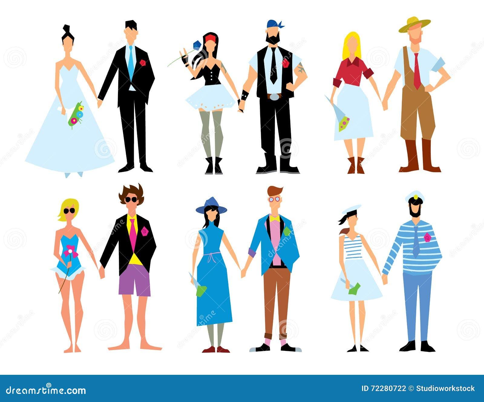 Download Иллюстрация вектора пар свадьбы Стоковое Фото - изображение насчитывающей бобра, цветки: 72280722