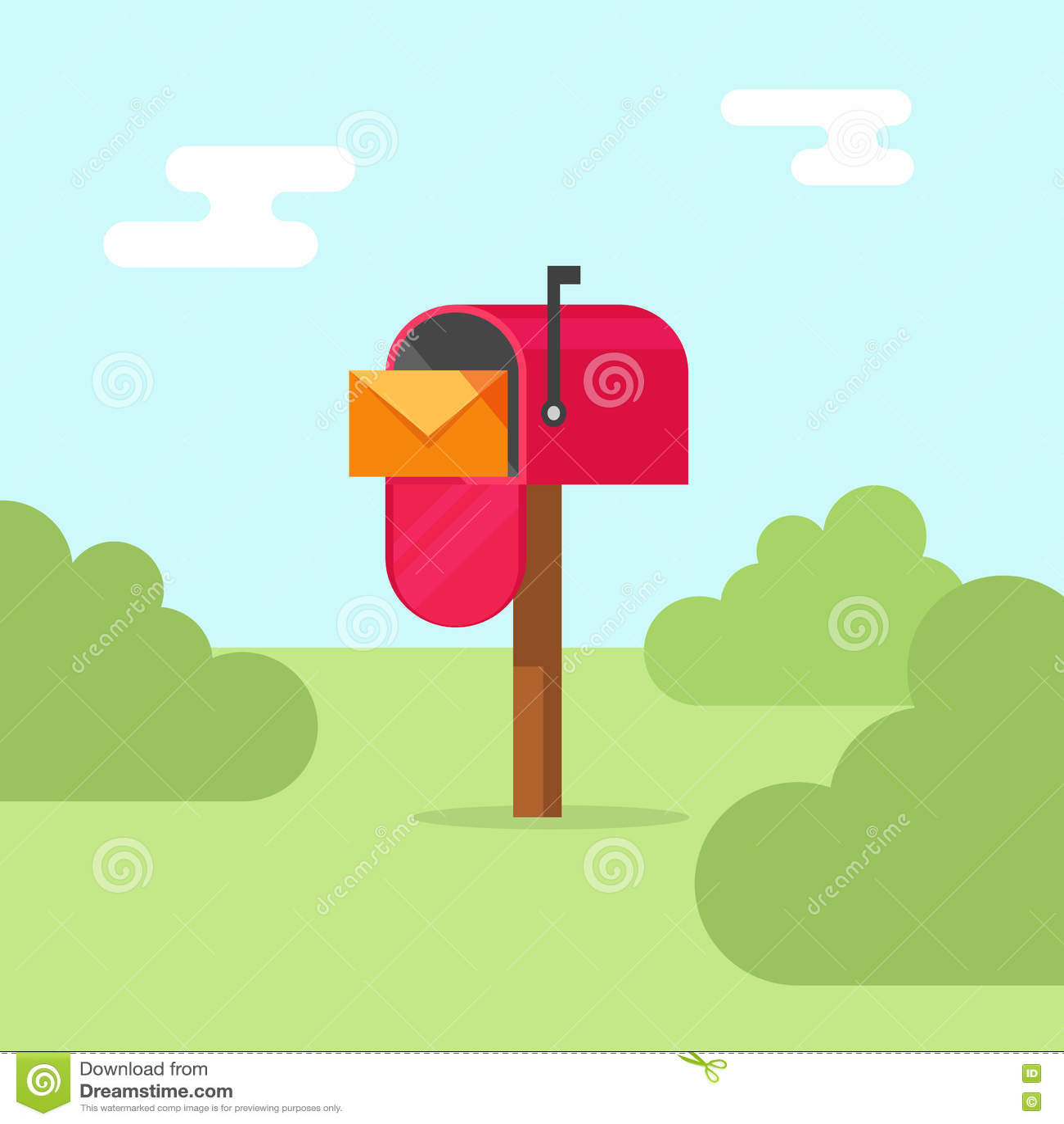 Иллюстрация вектора почтового ящика, почтовое отделение на природе