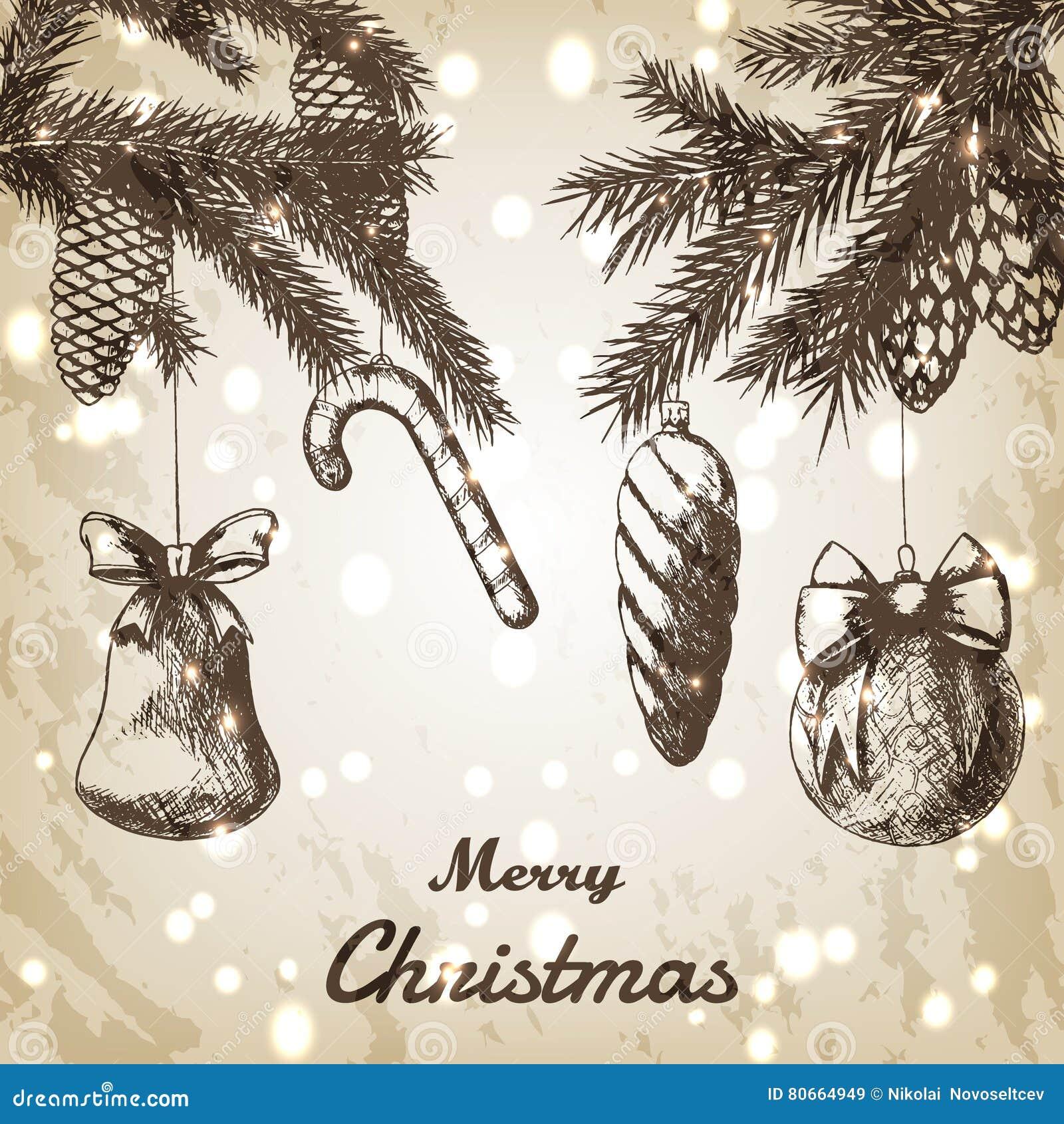 Иллюстрация вектора рождества нарисованная рукой - декоративные орнаменты, ветви и эскиз конусов сосны, винтажный стиль brougham