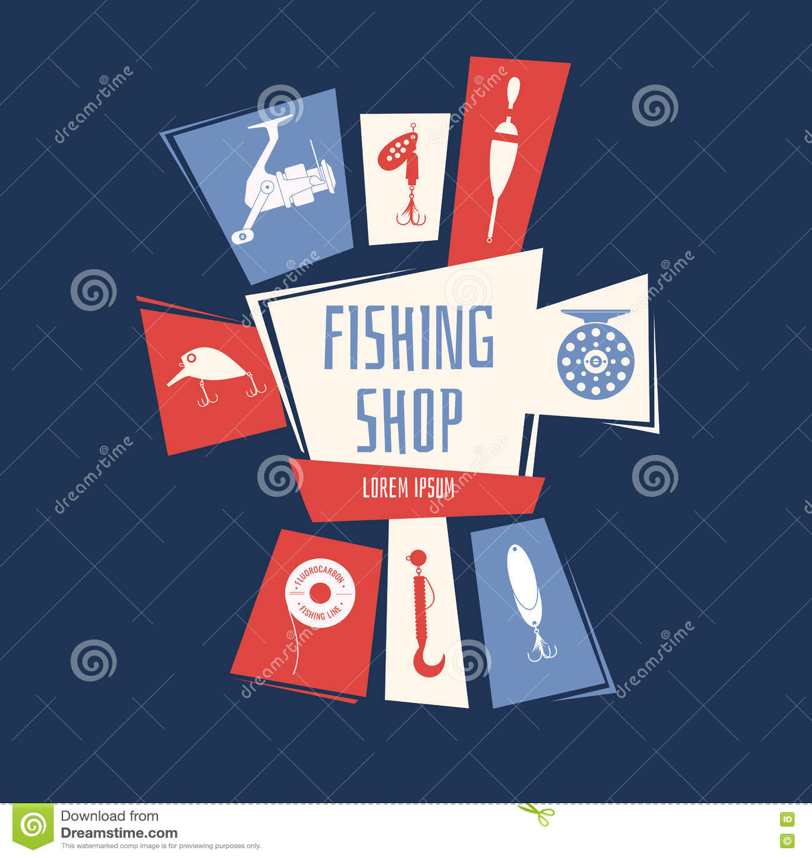 Download Иллюстрация вектора для магазина рыбной ловли Иллюстрация вектора - иллюстрации насчитывающей хозяйничать, элементы: 72286677