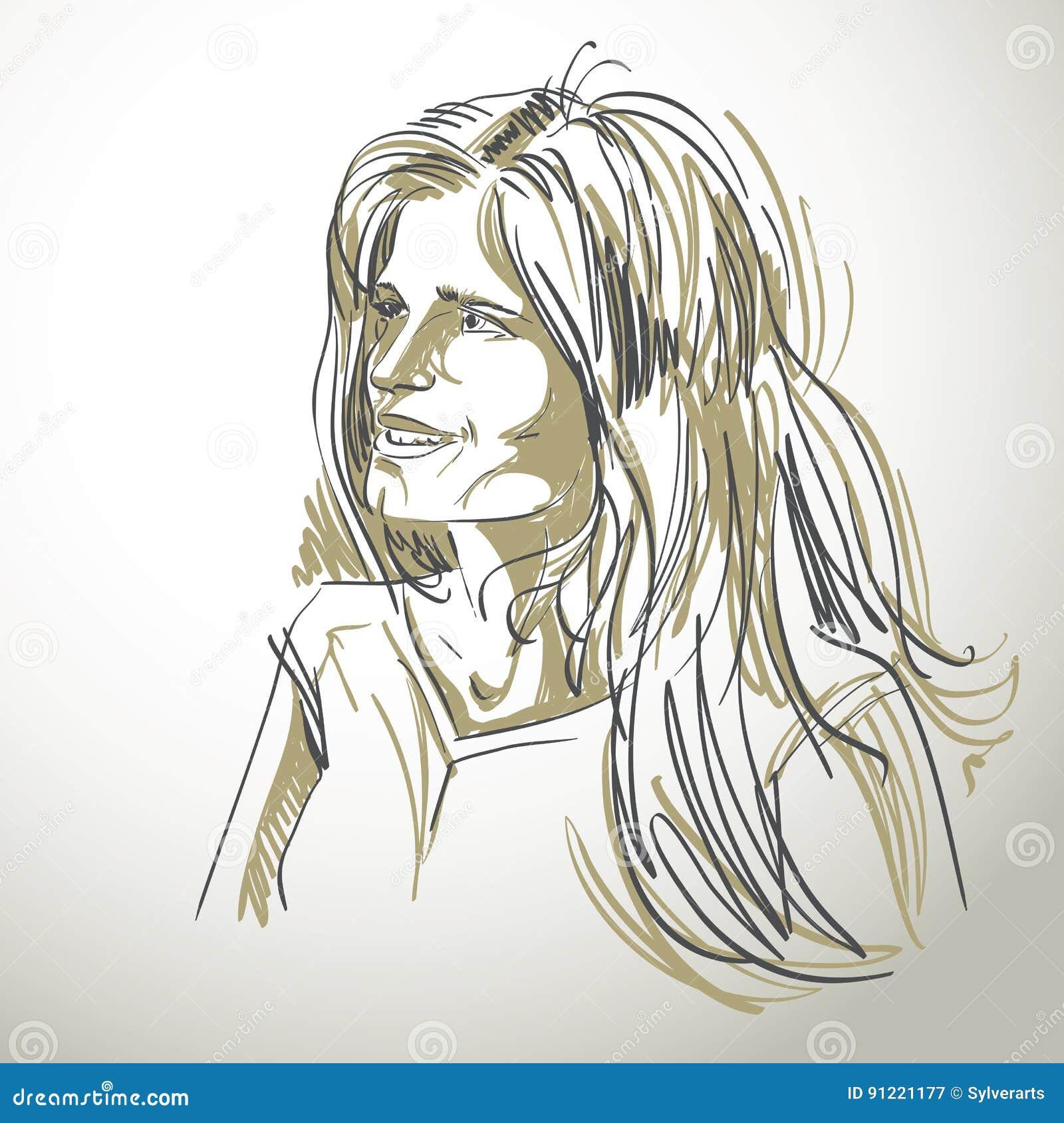 Иллюстрация графического вектора нарисованная вручную белой кожи привлекательная