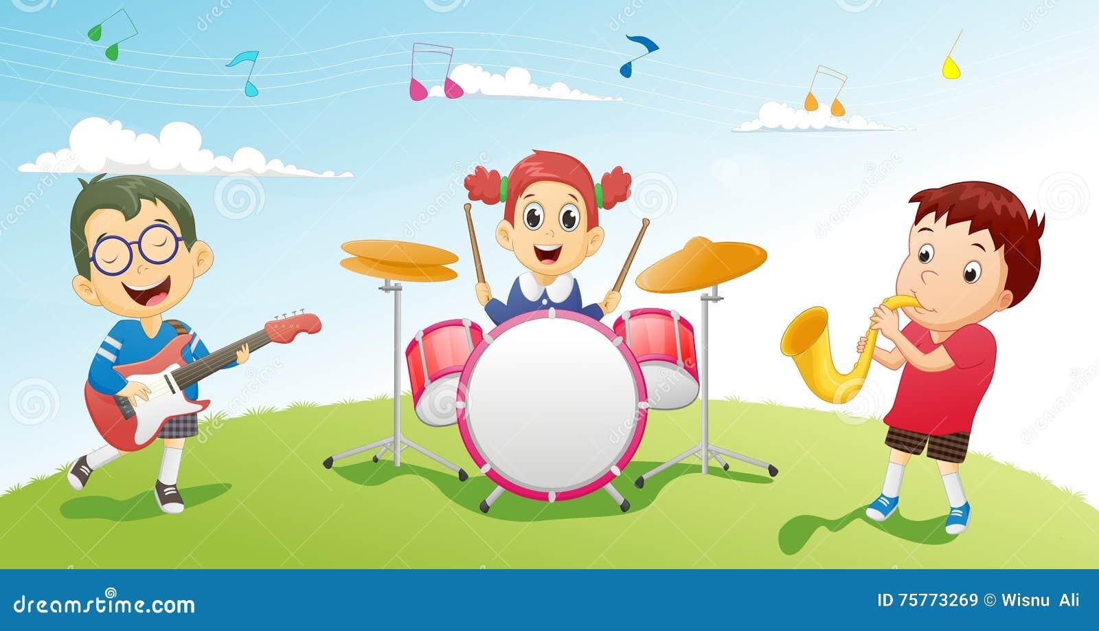 Иллюстрация детей играя аппаратуру музыки