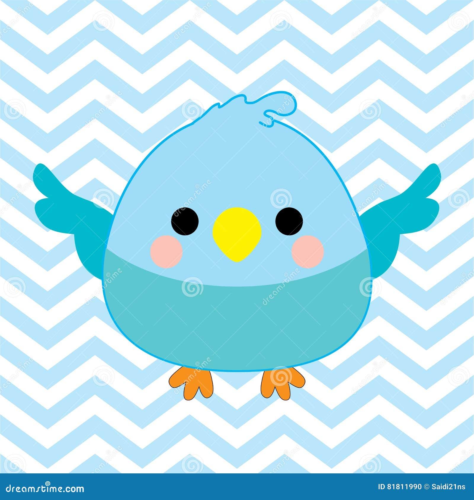 Иллюстрация детского душа с милой птицей младенца на голубой предпосылке цвета шеврона