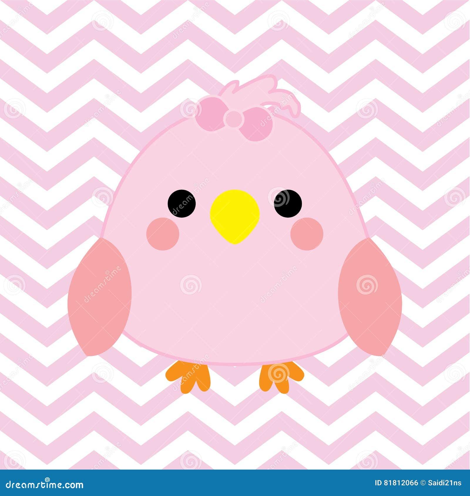 Иллюстрация детского душа с милой птицей младенца на розовой предпосылке цвета шеврона