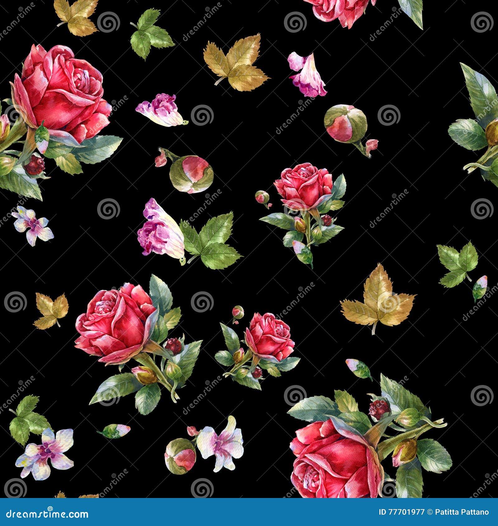 Иллюстрация картины акварели красной розы, безшовной картины