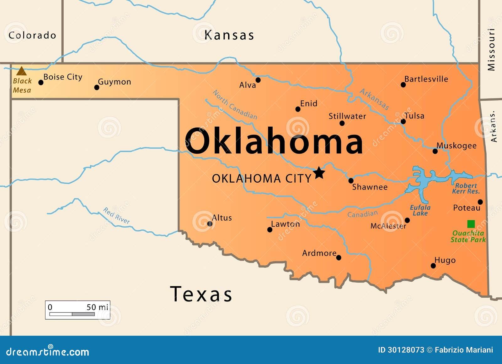 Карта Оклахома