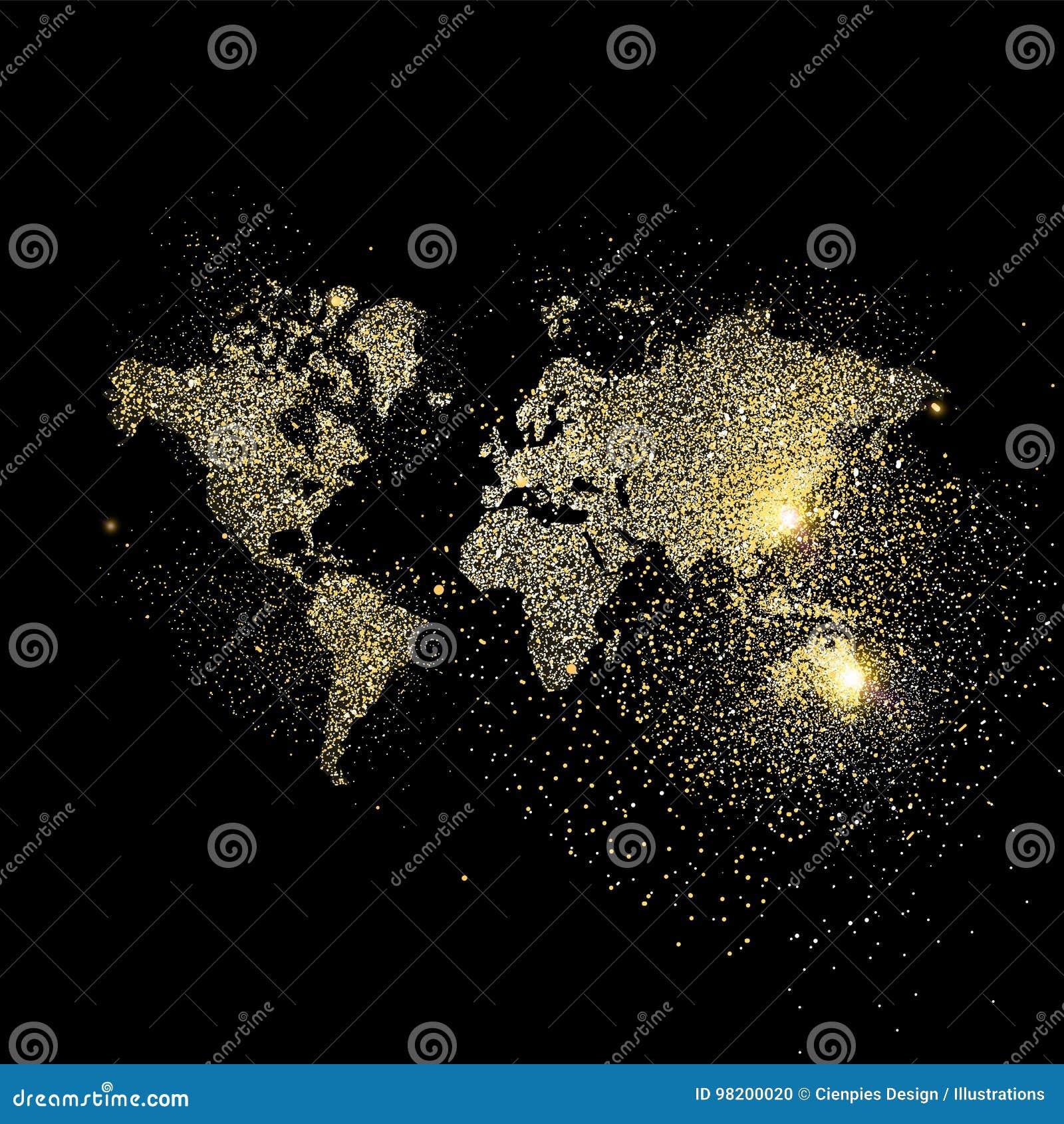 Download Иллюстрация концепции искусства яркого блеска золота карты мира Иллюстрация вектора - иллюстрации насчитывающей международно, образование: 98200020