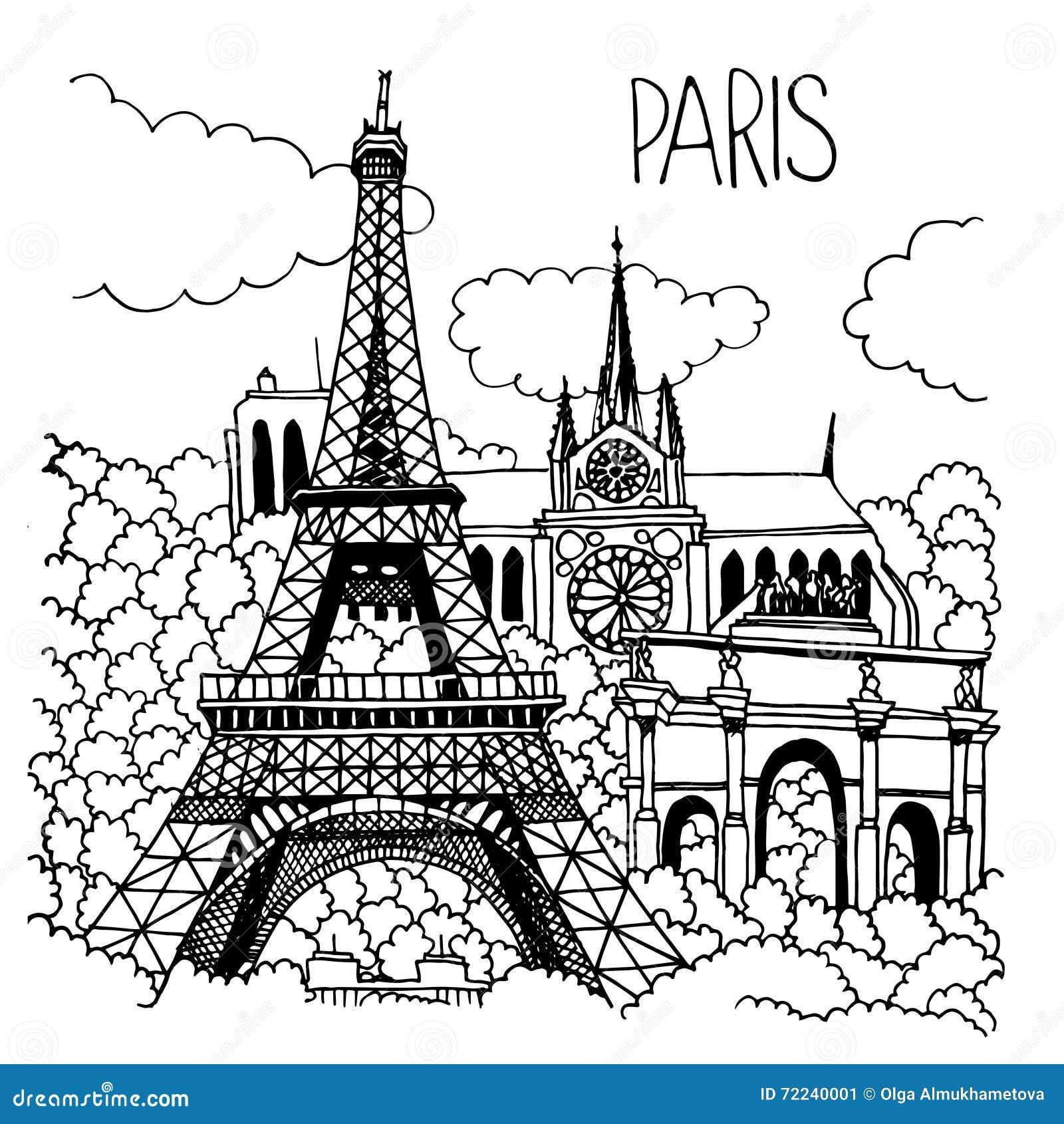 Иллюстрация нарисованная рукой ориентир ориентиров Парижа